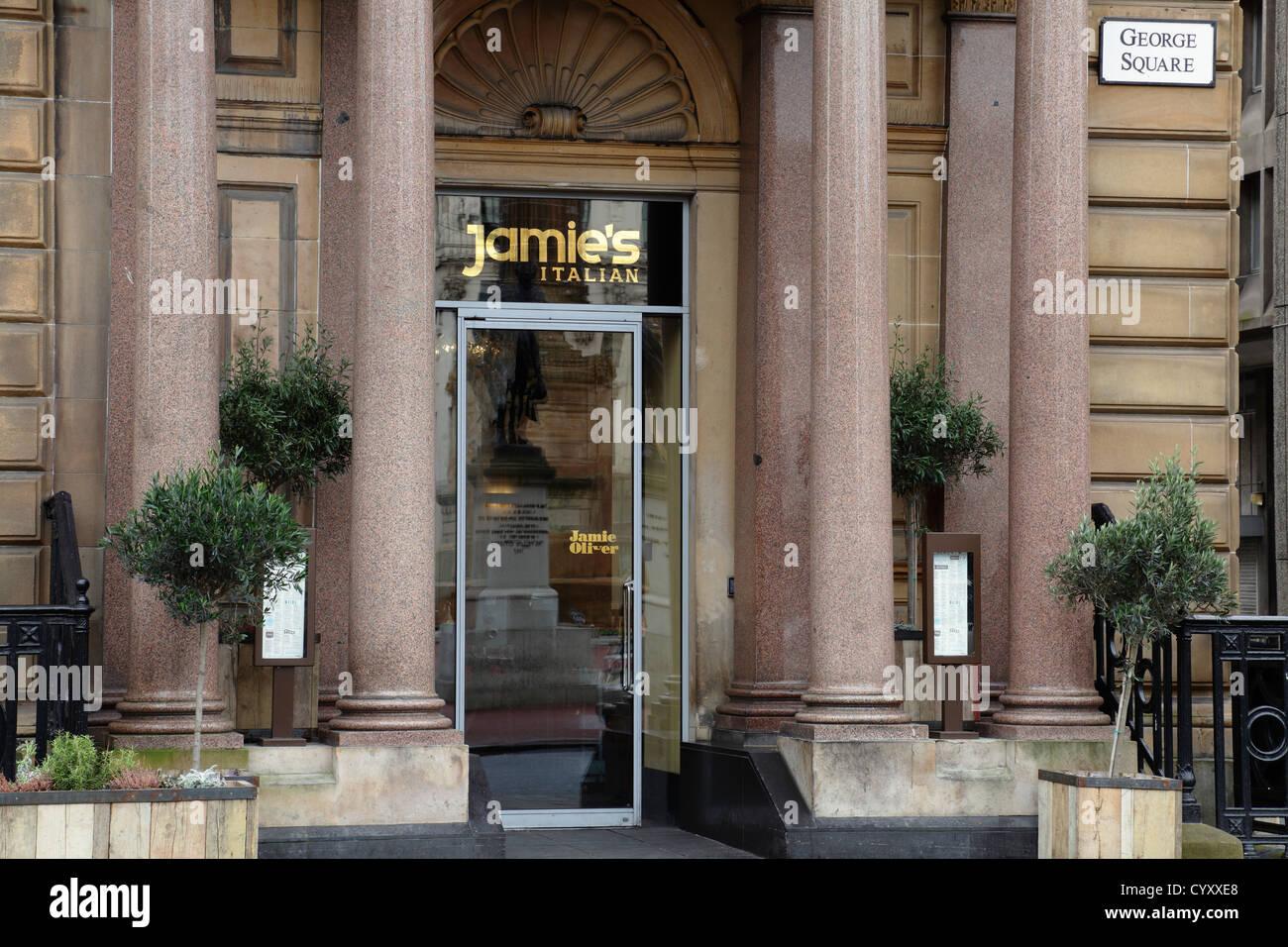 Entrance to Jamie Oliver's Italian Restaurant in Glasgow city centre, Scotland, UK - Stock Image