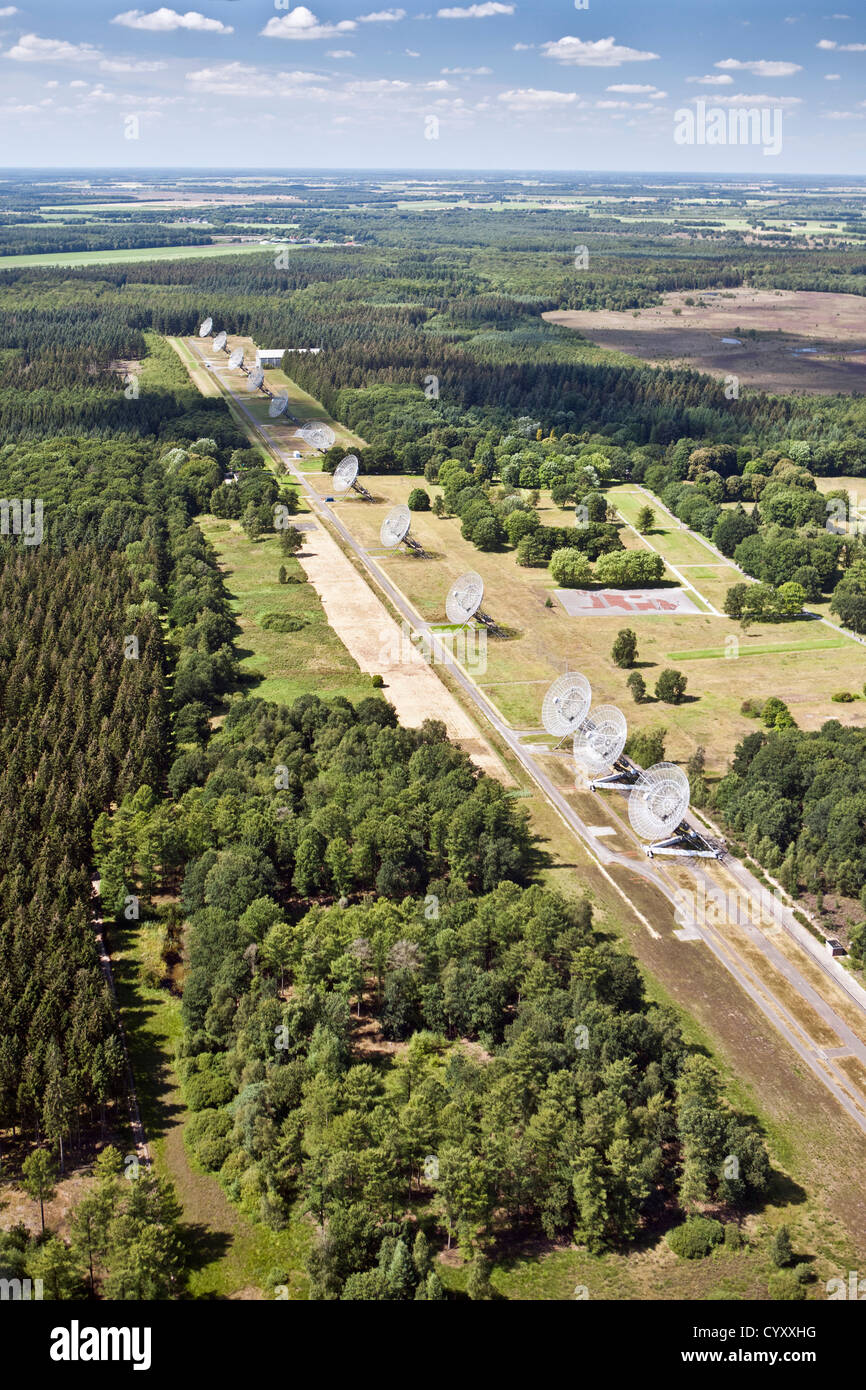 The Netherlands, Westerbork, Synthesis Radio Telescopes. Aerial. Stock Photo