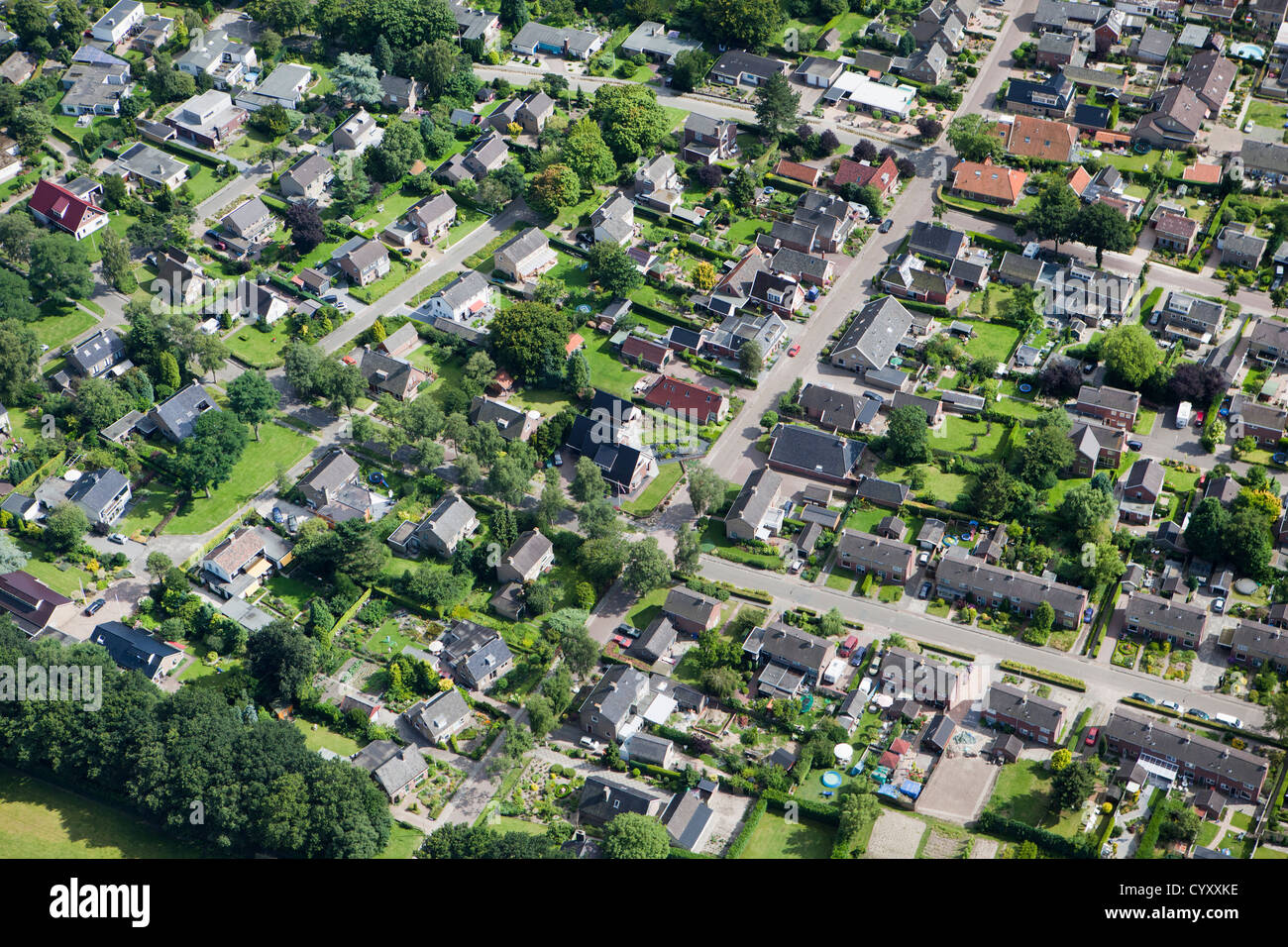 The Netherlands, Zuid Laren. Residential district. Aerial. - Stock Image
