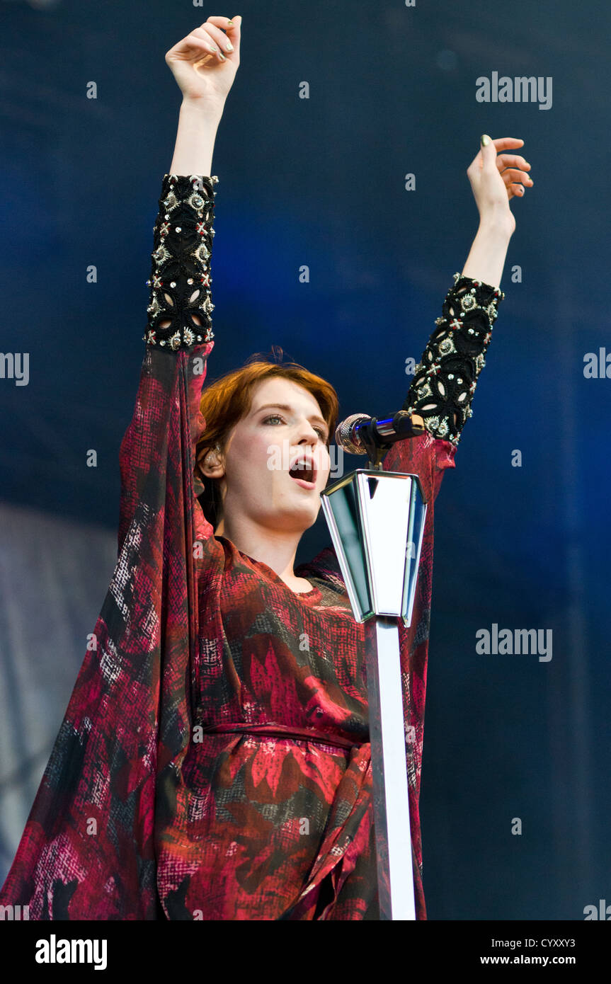 Florence Welch of Florence and the Machine performing at Lollapalooza 2012. - Stock Image