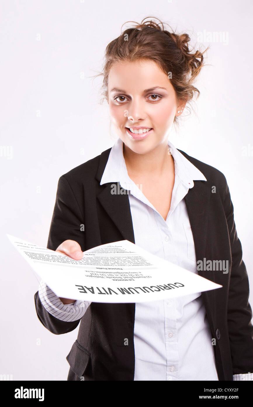 Happy Blonde Woman Cv Resume Stock Photos Happy Blonde Woman Cv