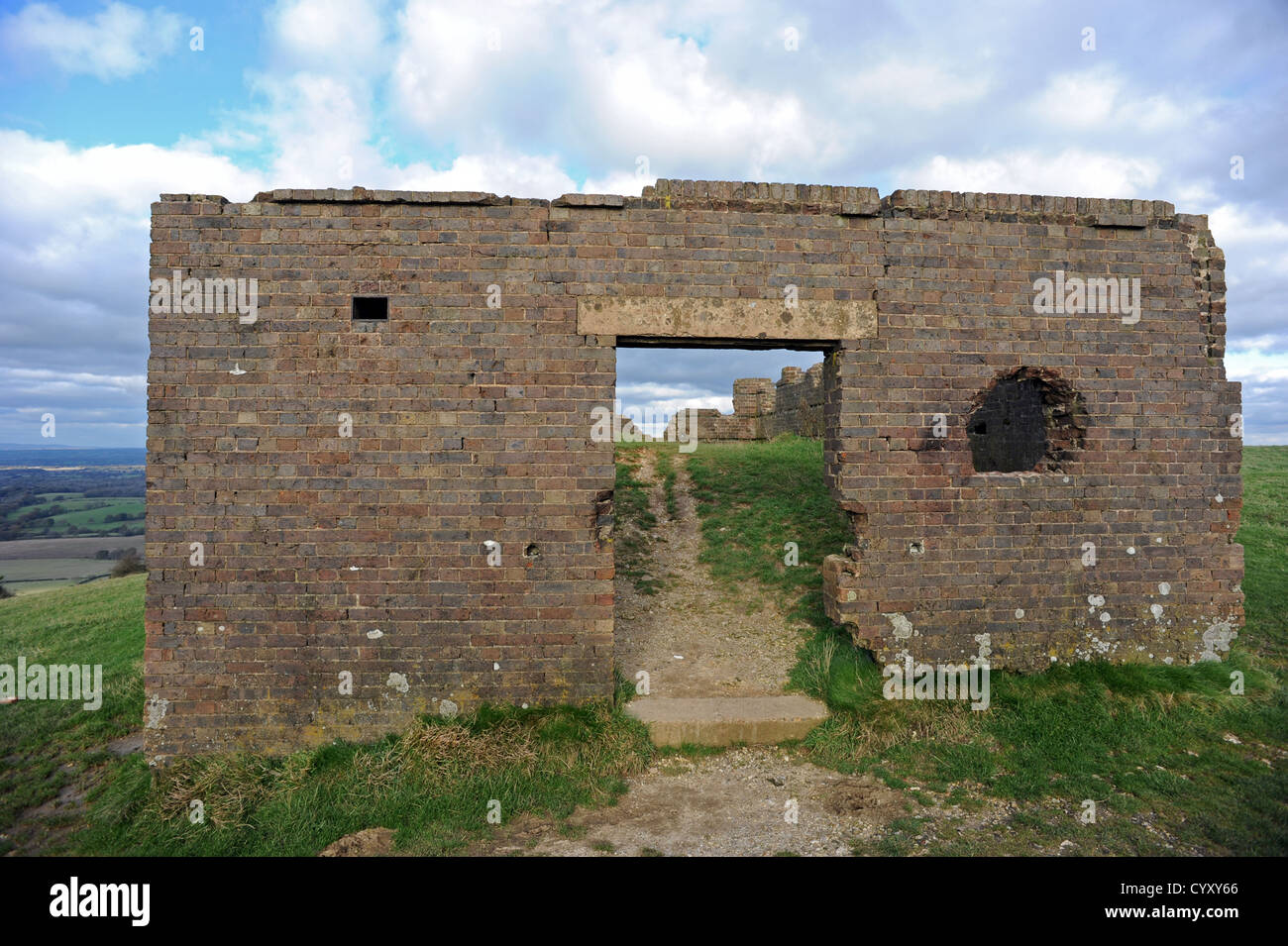 Old world war one bomb block up on Devils Dyke - Stock Image