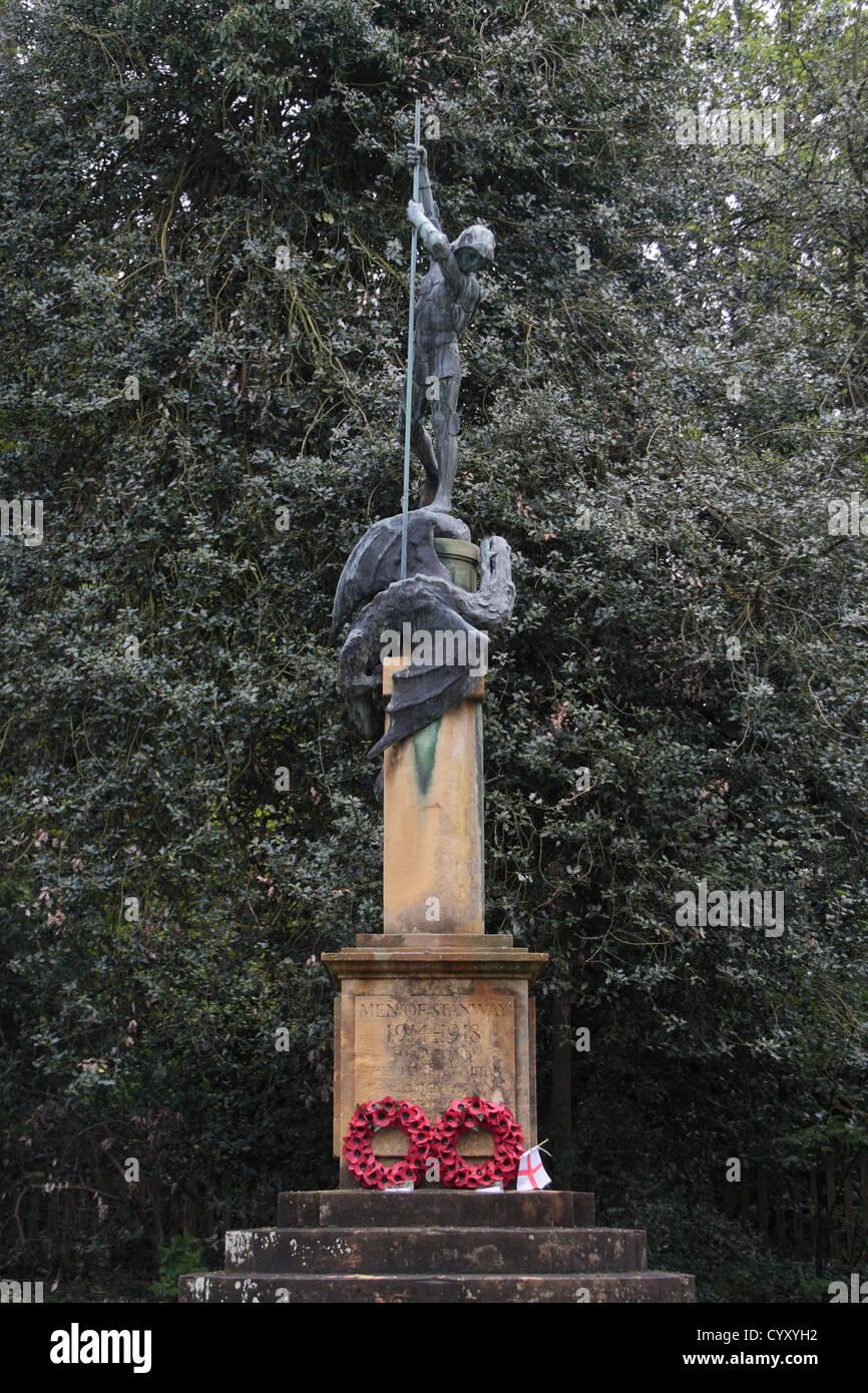 "The Stanway War Memorial (""Men of Stanway"" World War One), Stanway, Gloucestershire, UK. Stock Photo"