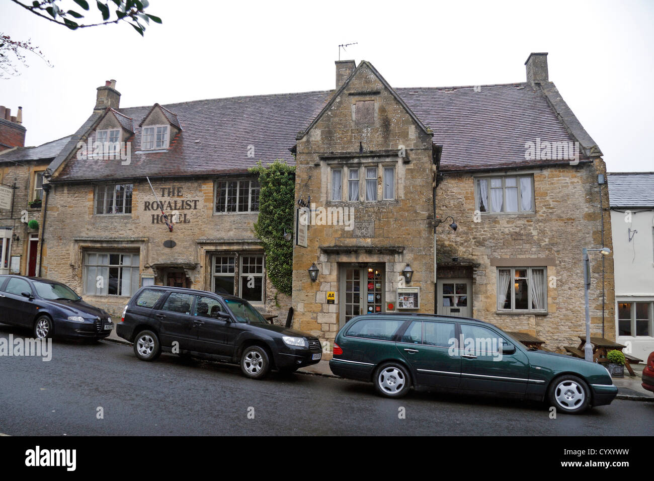 The Royalist Hotel in Stow on the Wold, Gloucestershire, England Stock Photo