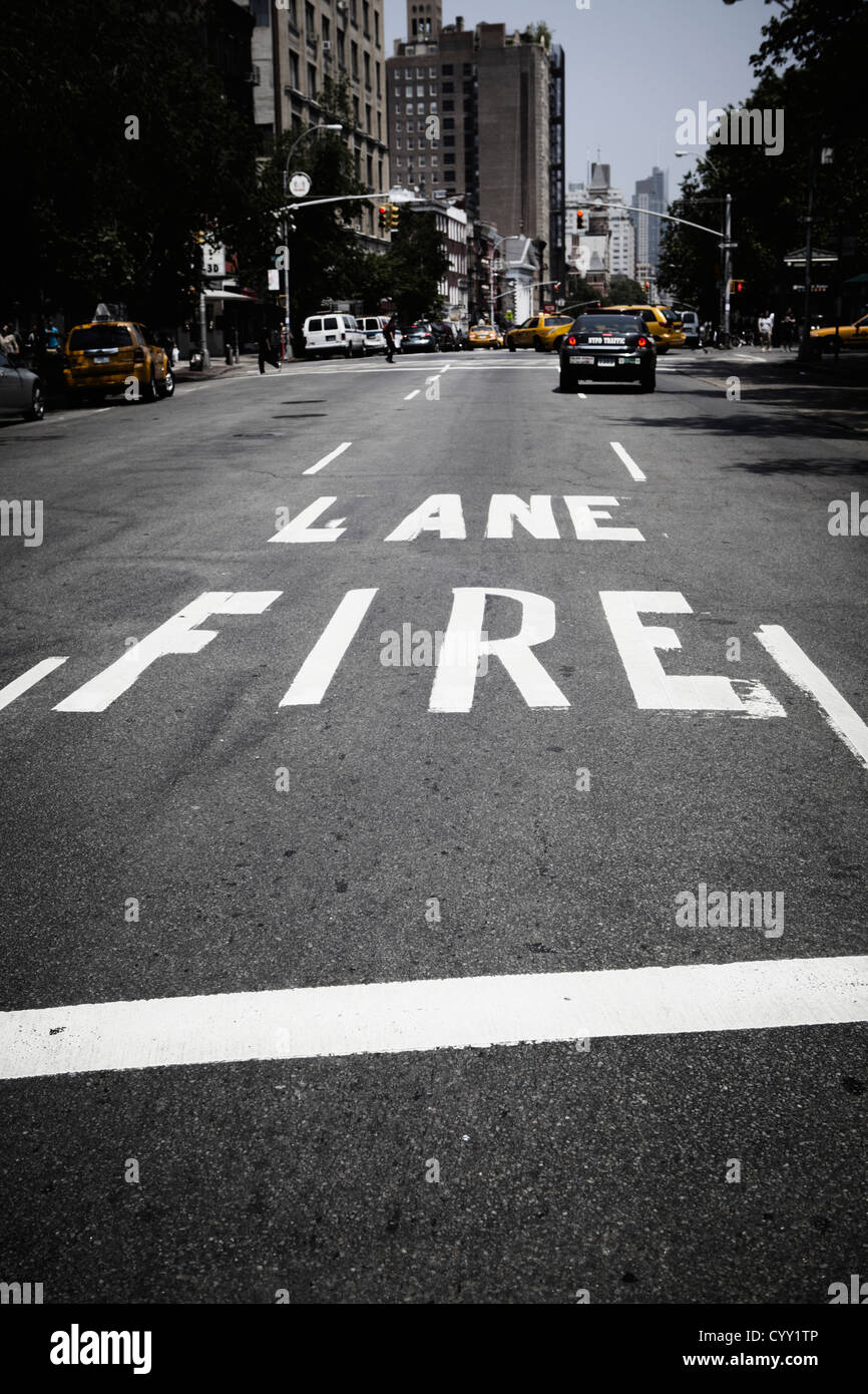 USA, New York, View of traffic fire lane - Stock Image