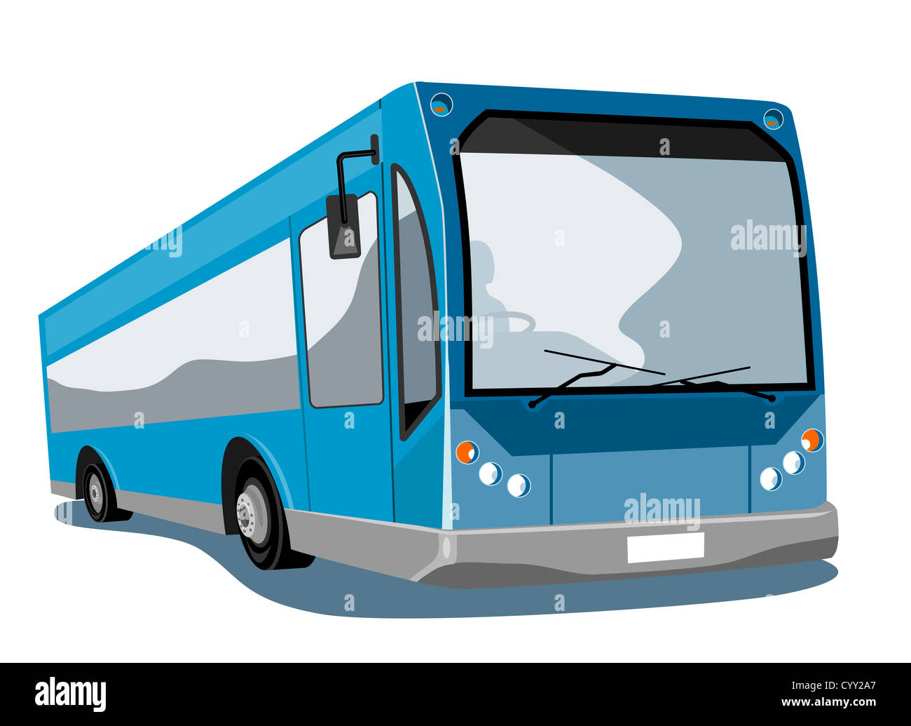 Illustration of a shuttle coach bus on isolated background - Stock Image