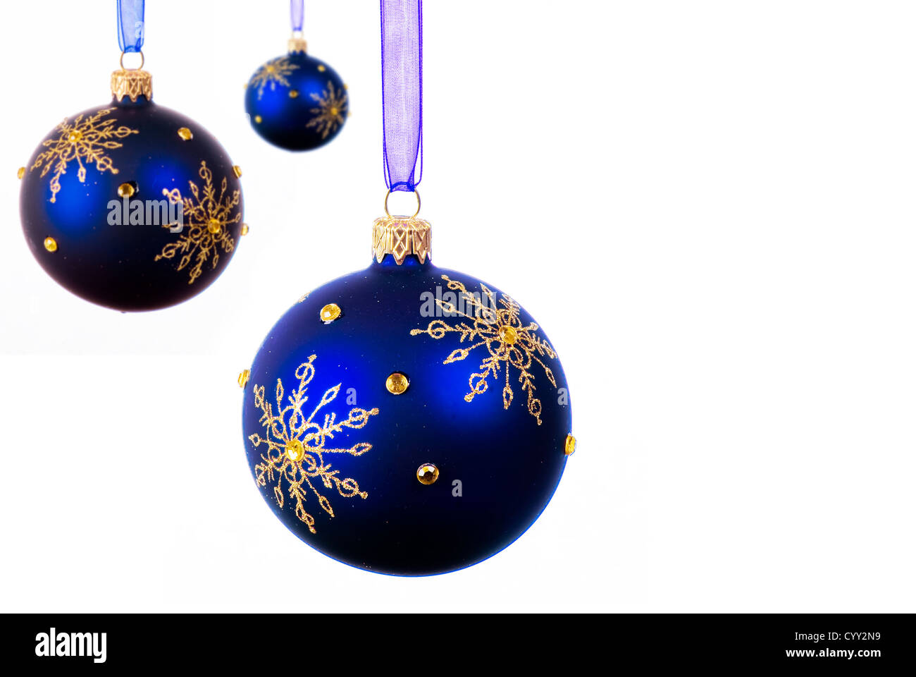 blue christmas balls over white background isolated stock image - Blue Christmas Balls