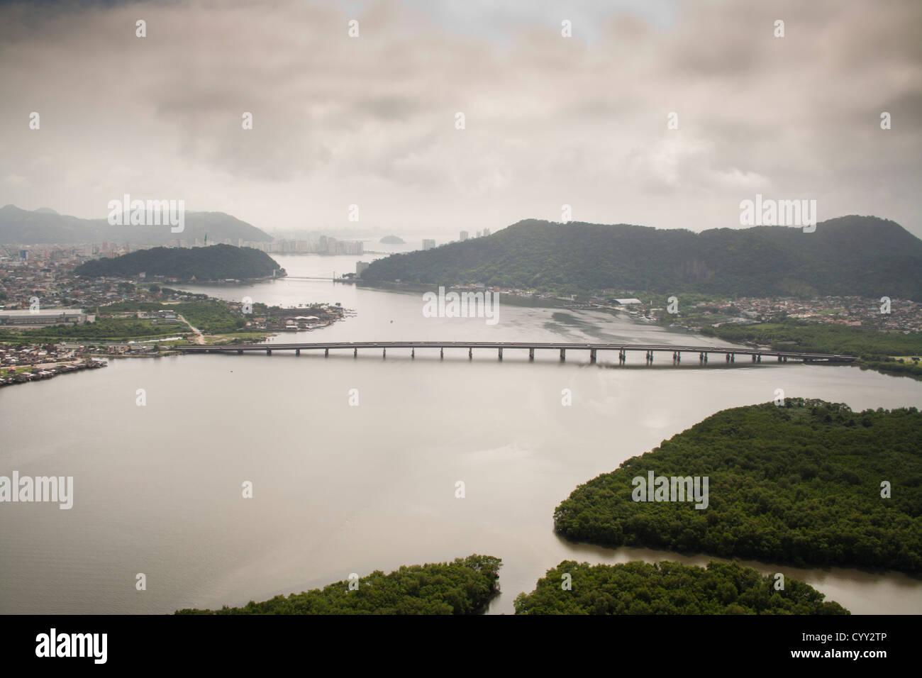 Aerial view of Ponte do Mar Pequeno bridge, connecting Sao Vicente to Praia Grande cities in Sao paulo state shore, Brazil Stock Photo