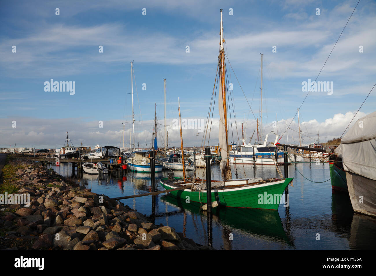 Sailing, motor and fishing boats in Skudehavnen - the old fishing harbour -  the northernmost part of the port of - Stock Image