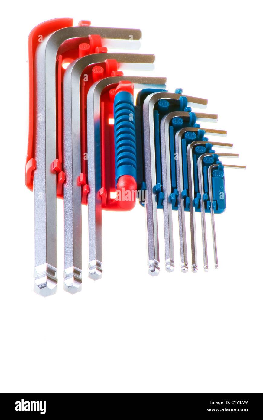 Set of alan keys over white background - Stock Image
