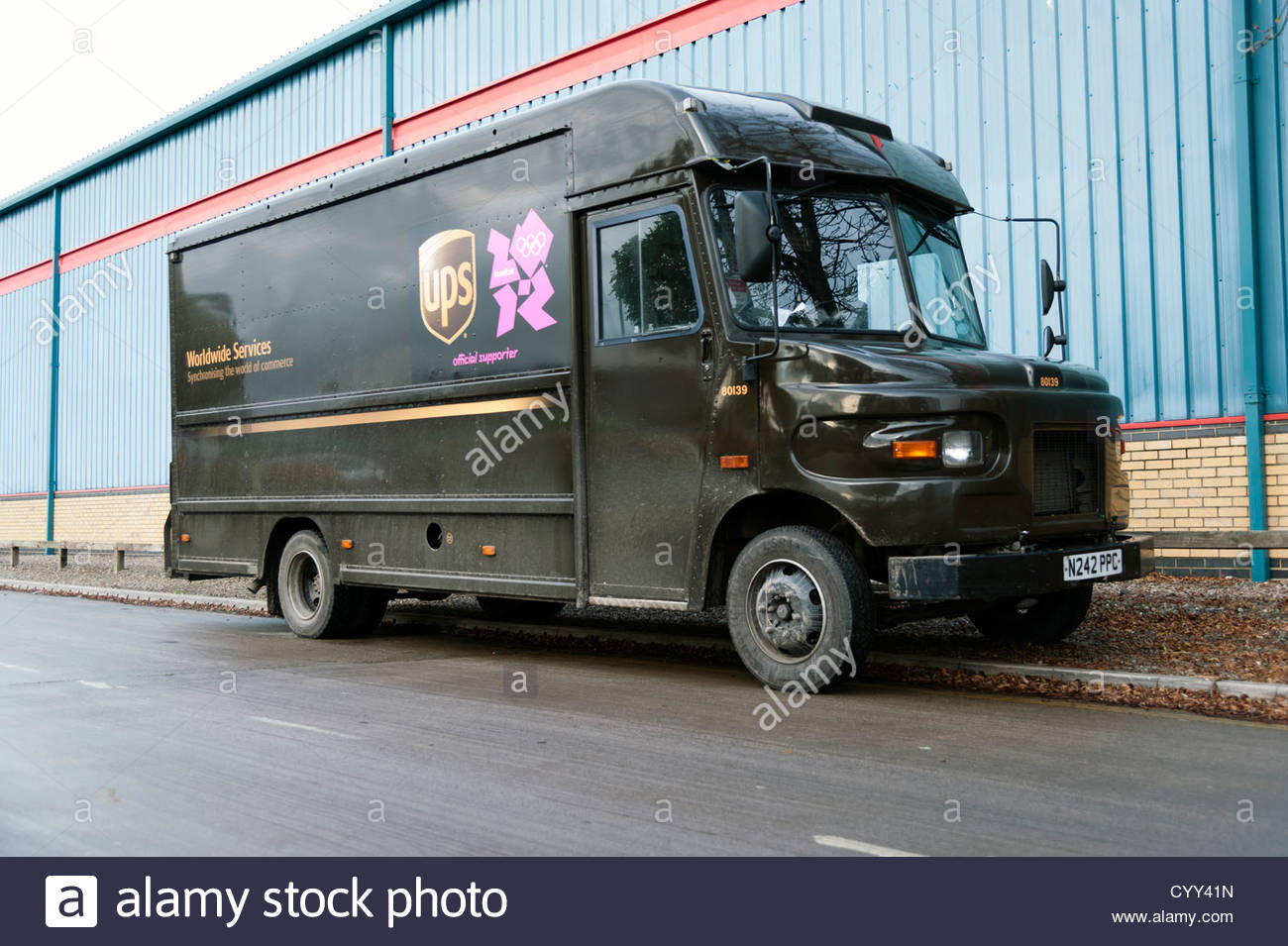 UPS delivery van in Hereford, UK. - Stock Image