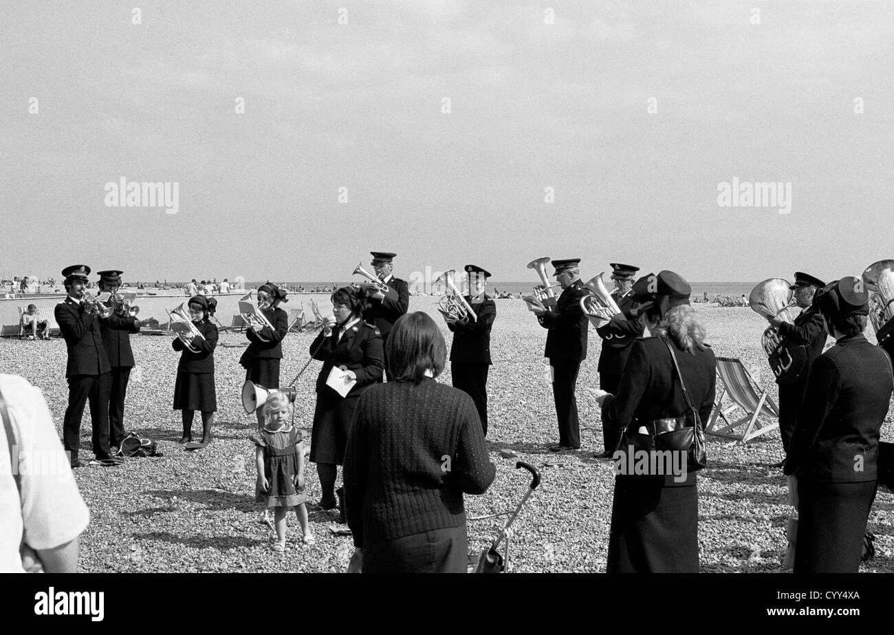 One of two archive pictures of the Salvation army in Hastings, this one shows them on the beach in 1982. - Stock Image