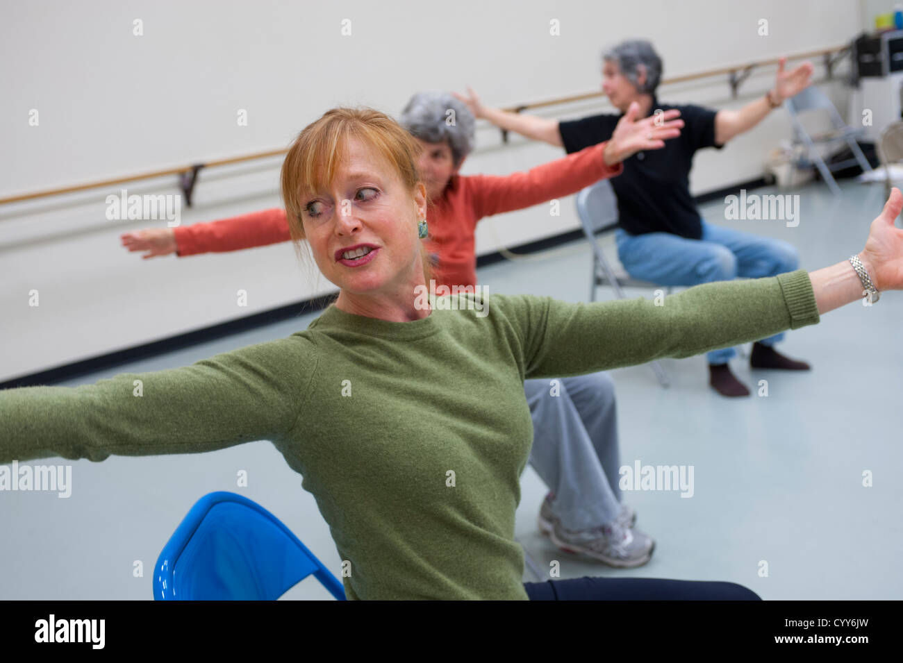 A movement class for elderly people with Parkinson's Disease - Stock Image