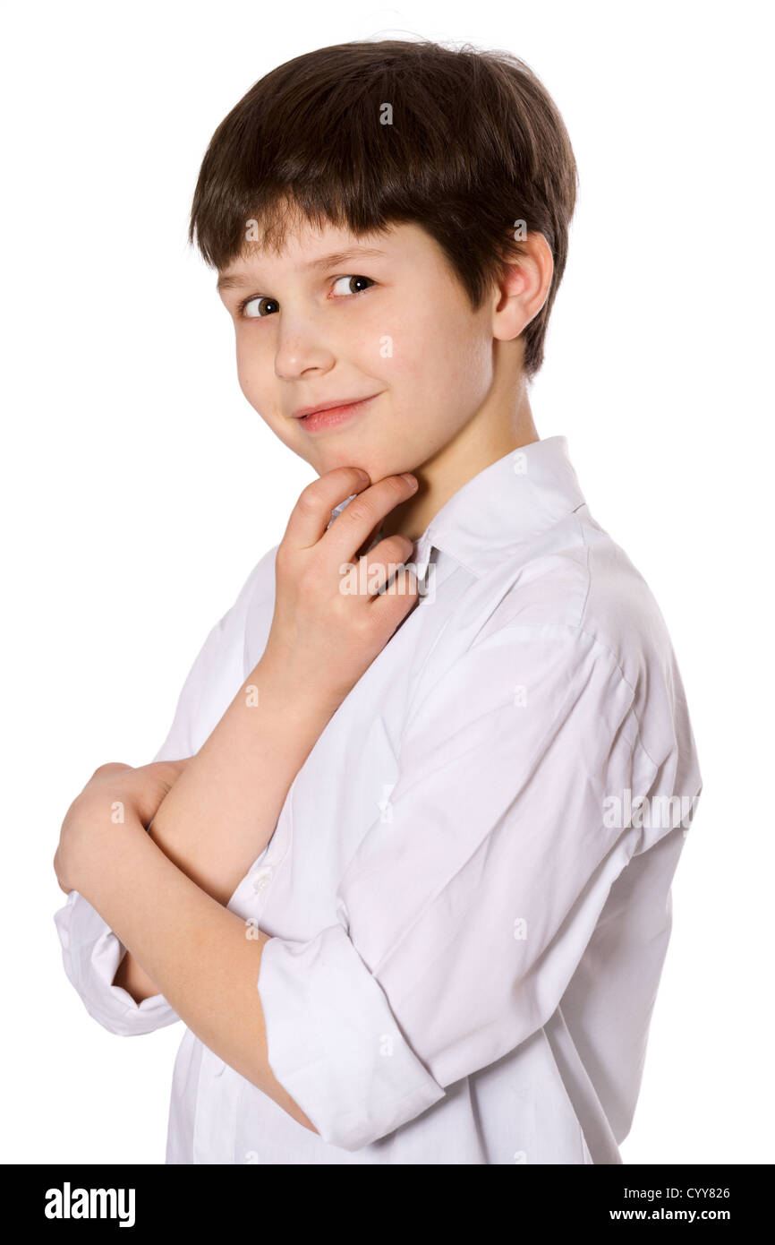 little serious boy portrait isolated on white - Stock Image