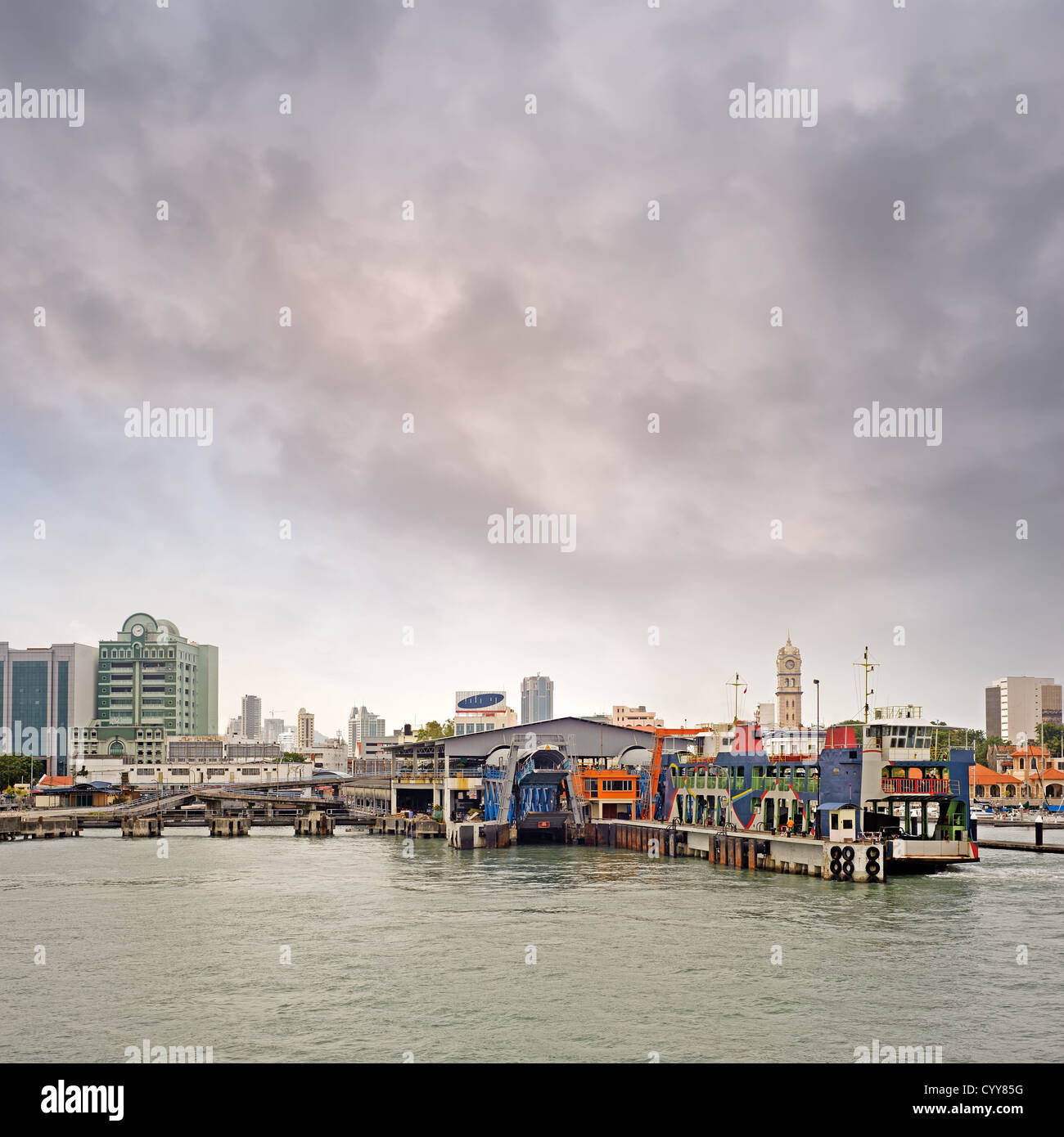 Thriving port and maritime transport in modern city in Penang, Malaysia, Asia. - Stock Image