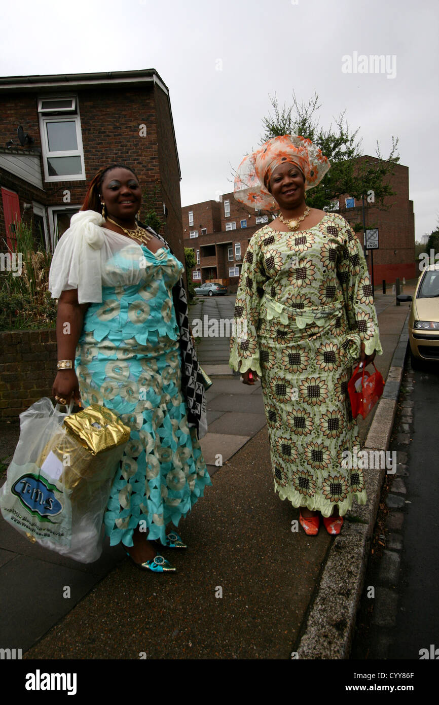 African Women In Traditional Clothes In London Suburb Of