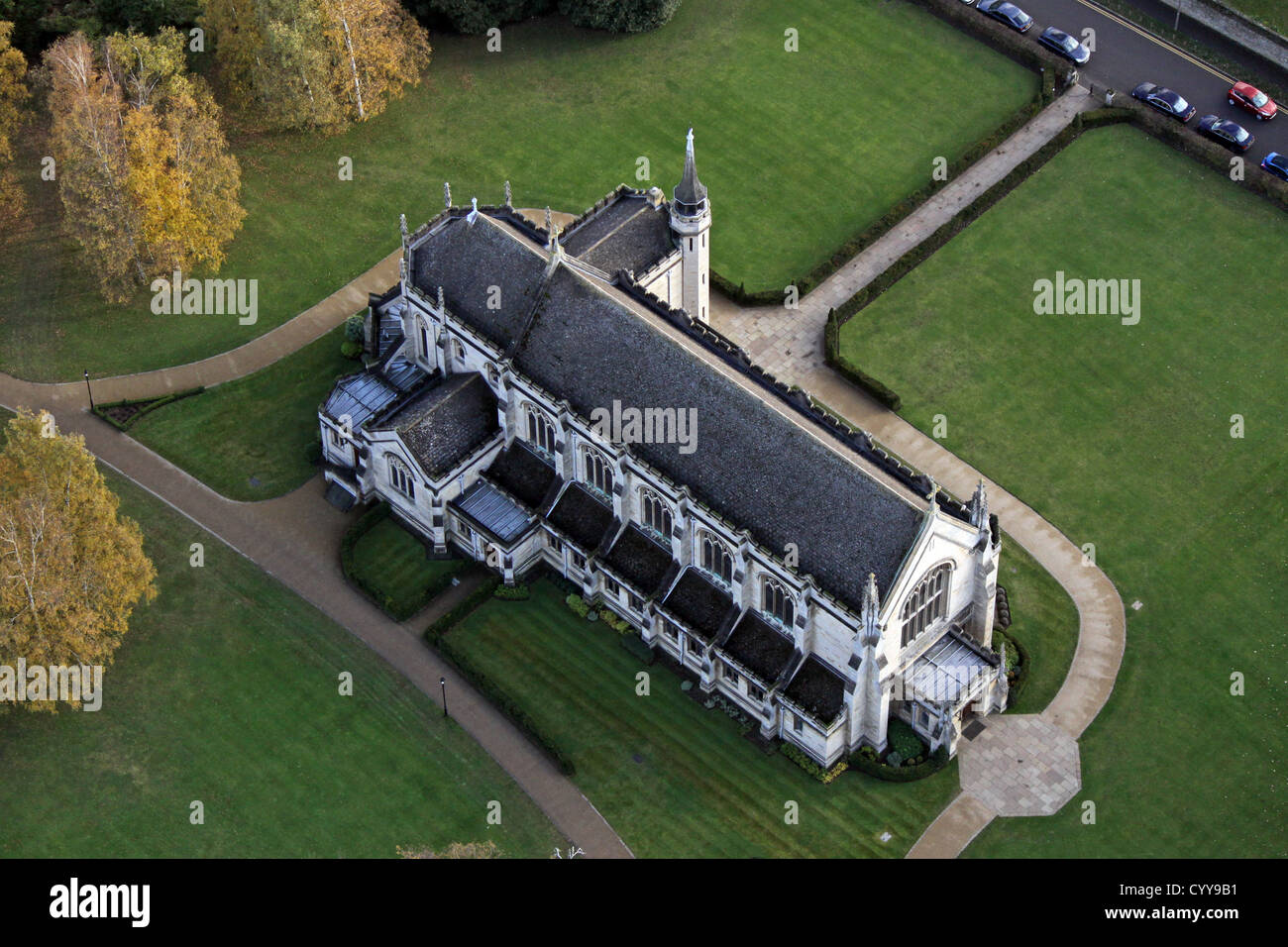 aerial view of Oundle School Chapel, Northamptonshire - Stock Image