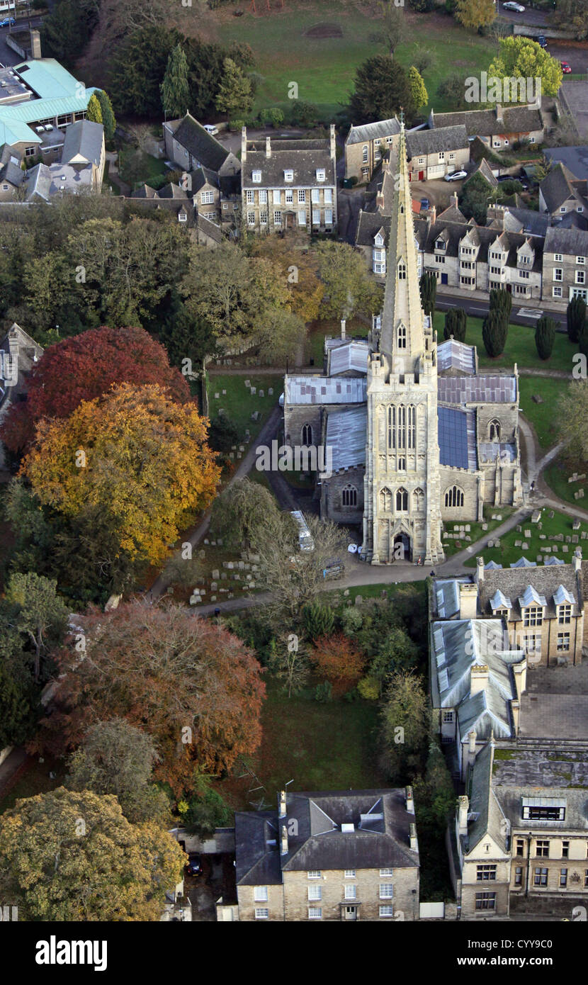 aerial view of Oundle Church in Northamptonshire - Stock Image