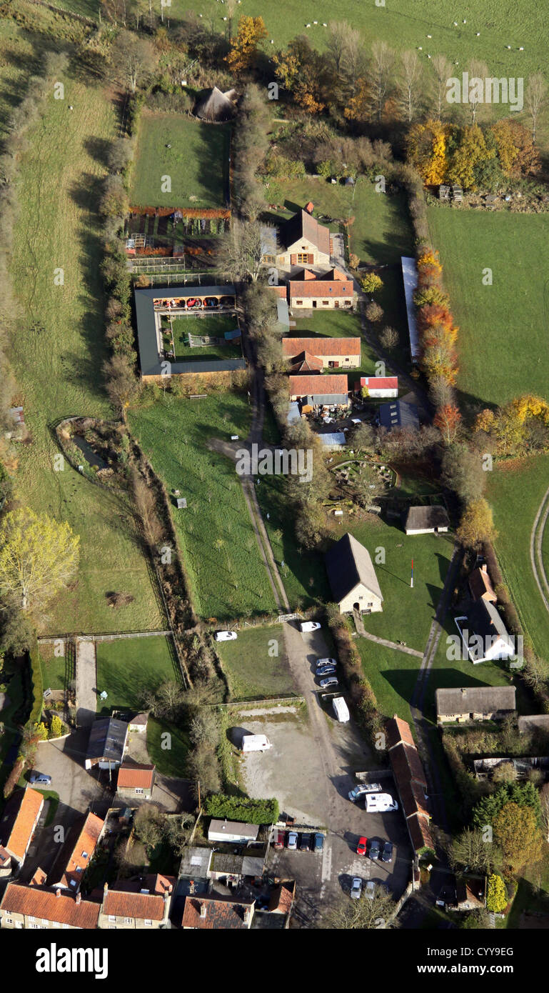 aerial view of Ryedale Folk Museum, Hutton-le-Hole, North Yorkshire - Stock Image