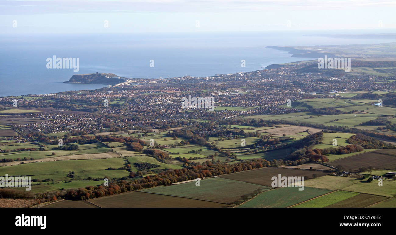 aerial view of the Yorkshire Coast from Scarborough southwards - Stock Image