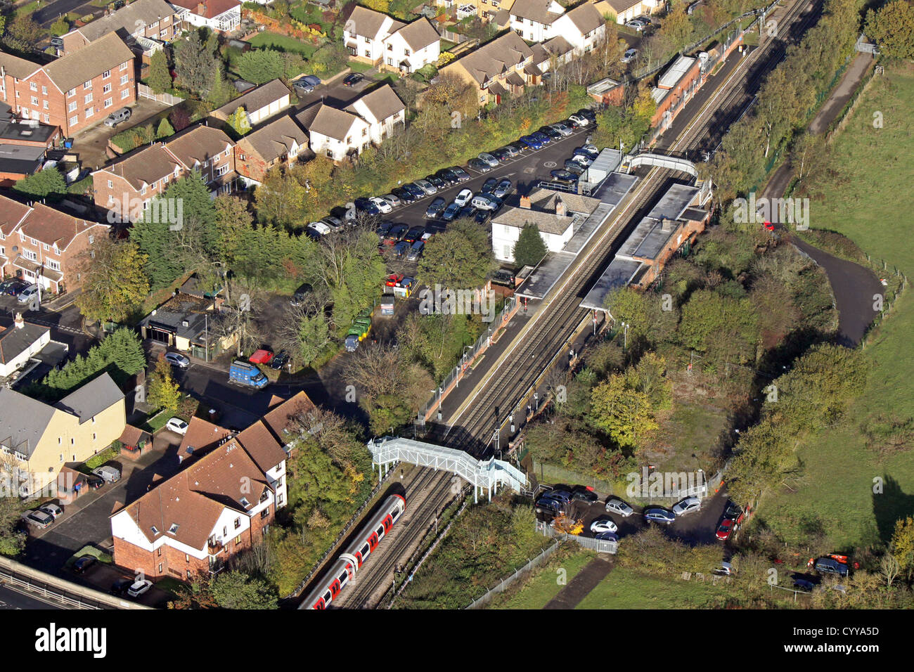 aerial view of Theydon Bois underground station in Essex - Stock Image