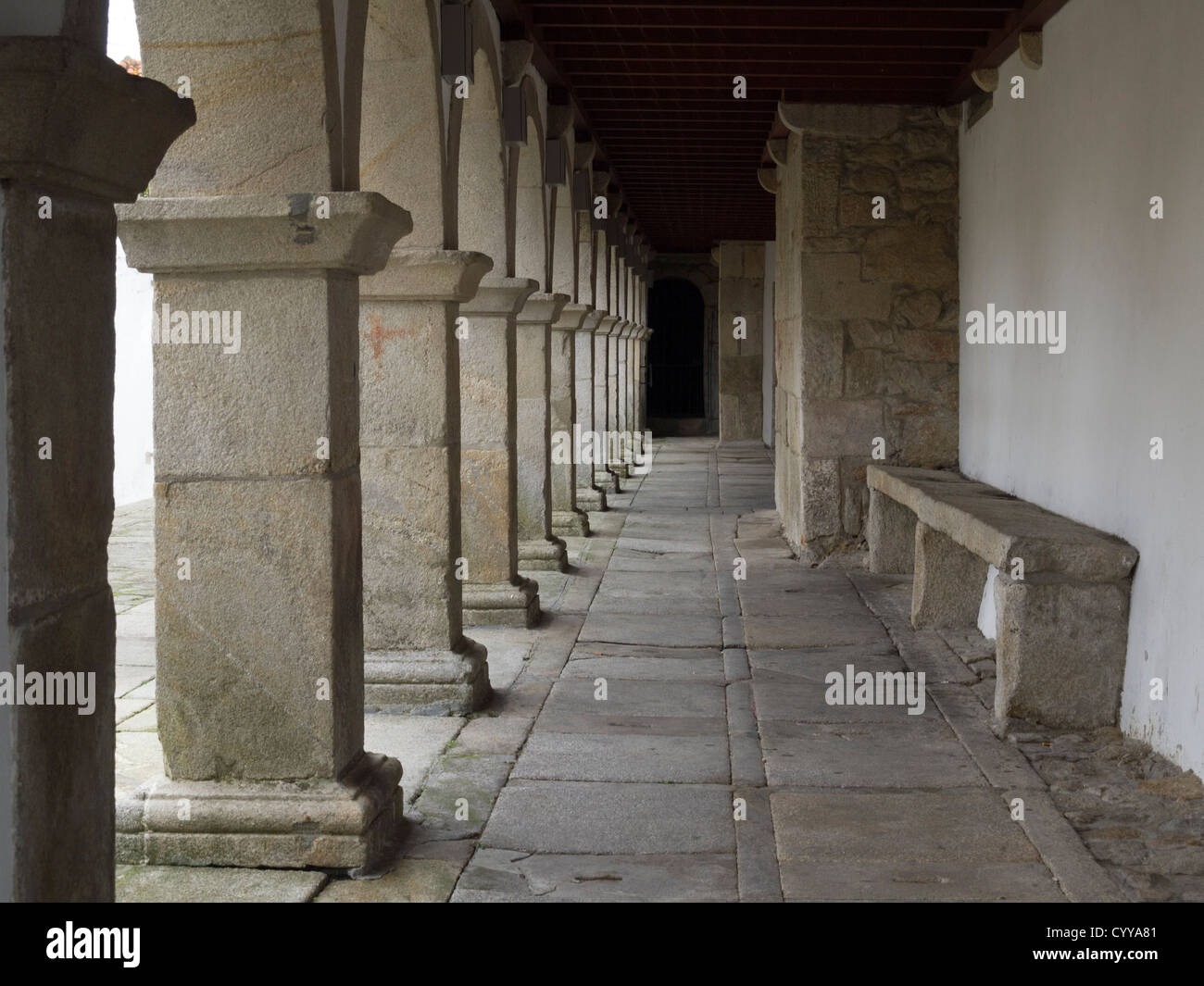 Medieval cloister columns - Stock Image