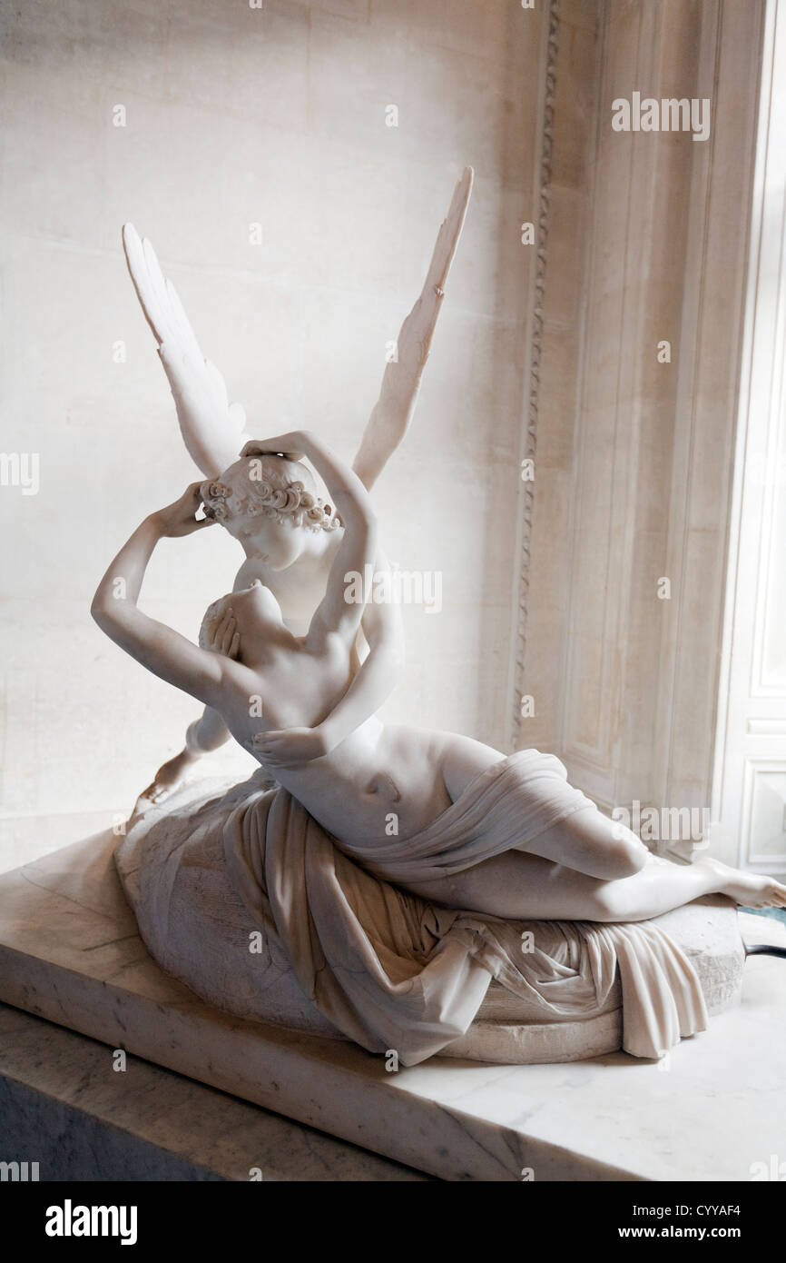 Canova Eros and psyche statue at Louvre Museum Paris France - Stock Image