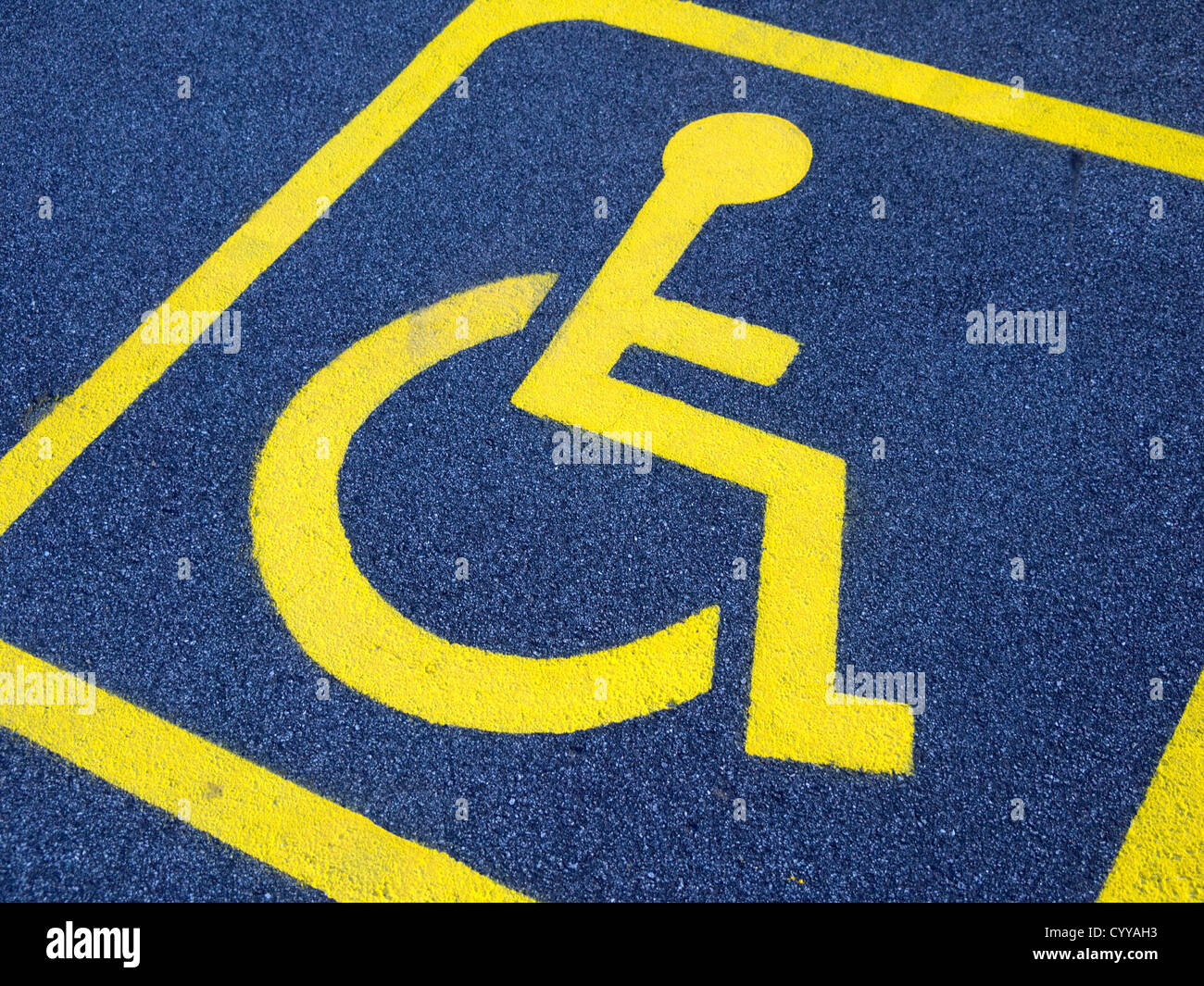 Disabled parking space sign - Stock Image