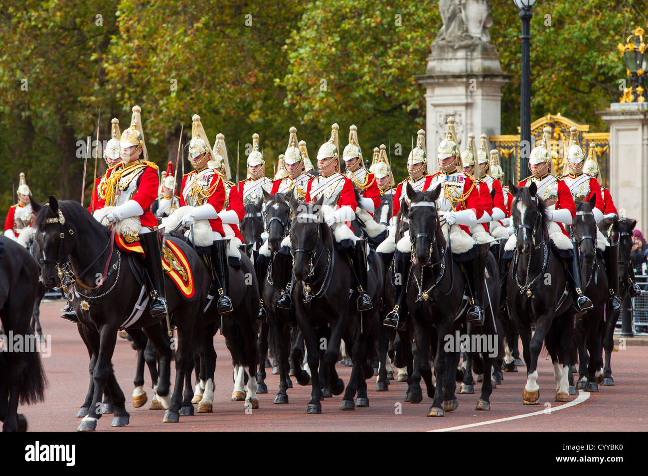 Members of the Household Cavalry - the Life Guards at Buckingham Palace, London England, UK - Stock Image