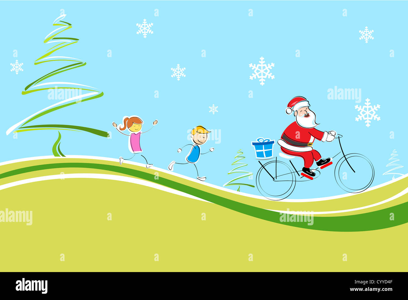 Illustration Of Cheerful Christmas Card With Santa Kids And X Mas