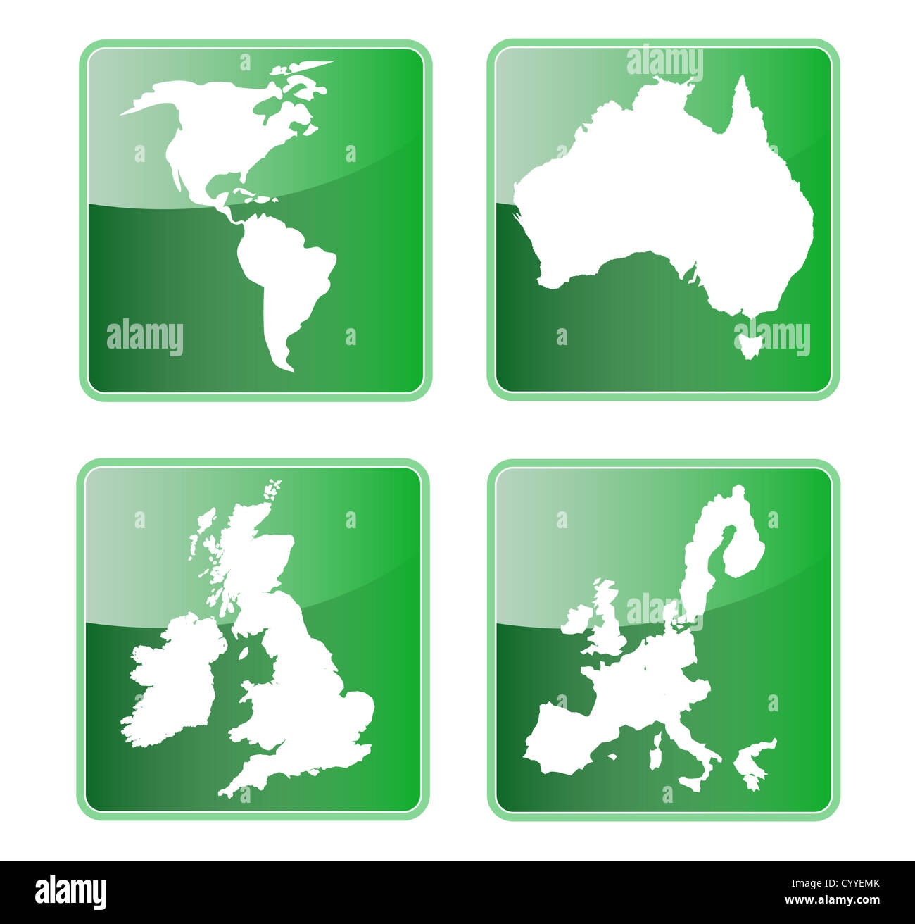 Icon showing map of north and south america australia great britain british isles and the european union. - Stock Image
