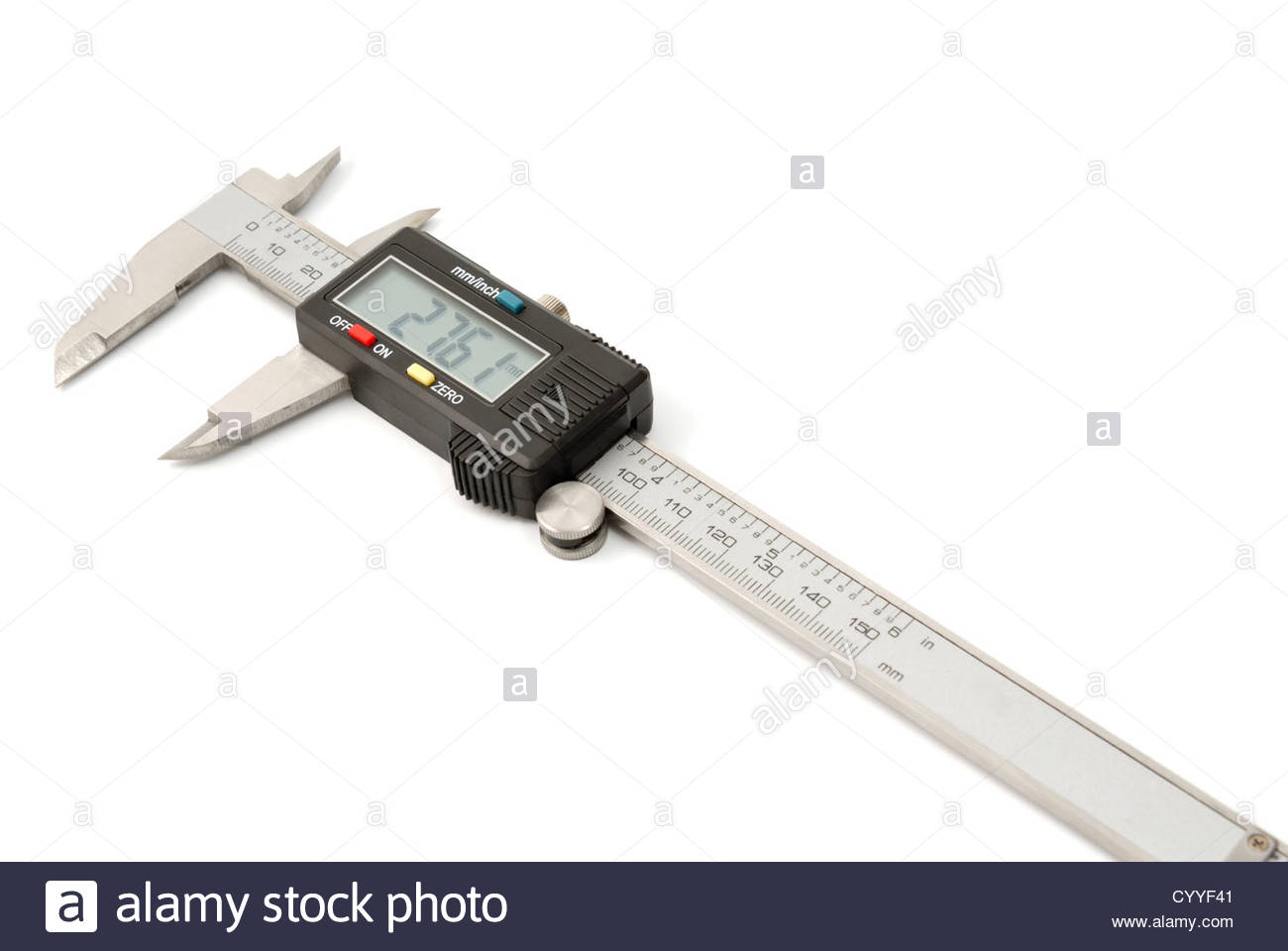 Electronic digital caliper isolated on white background. The precision tool. - Stock Image