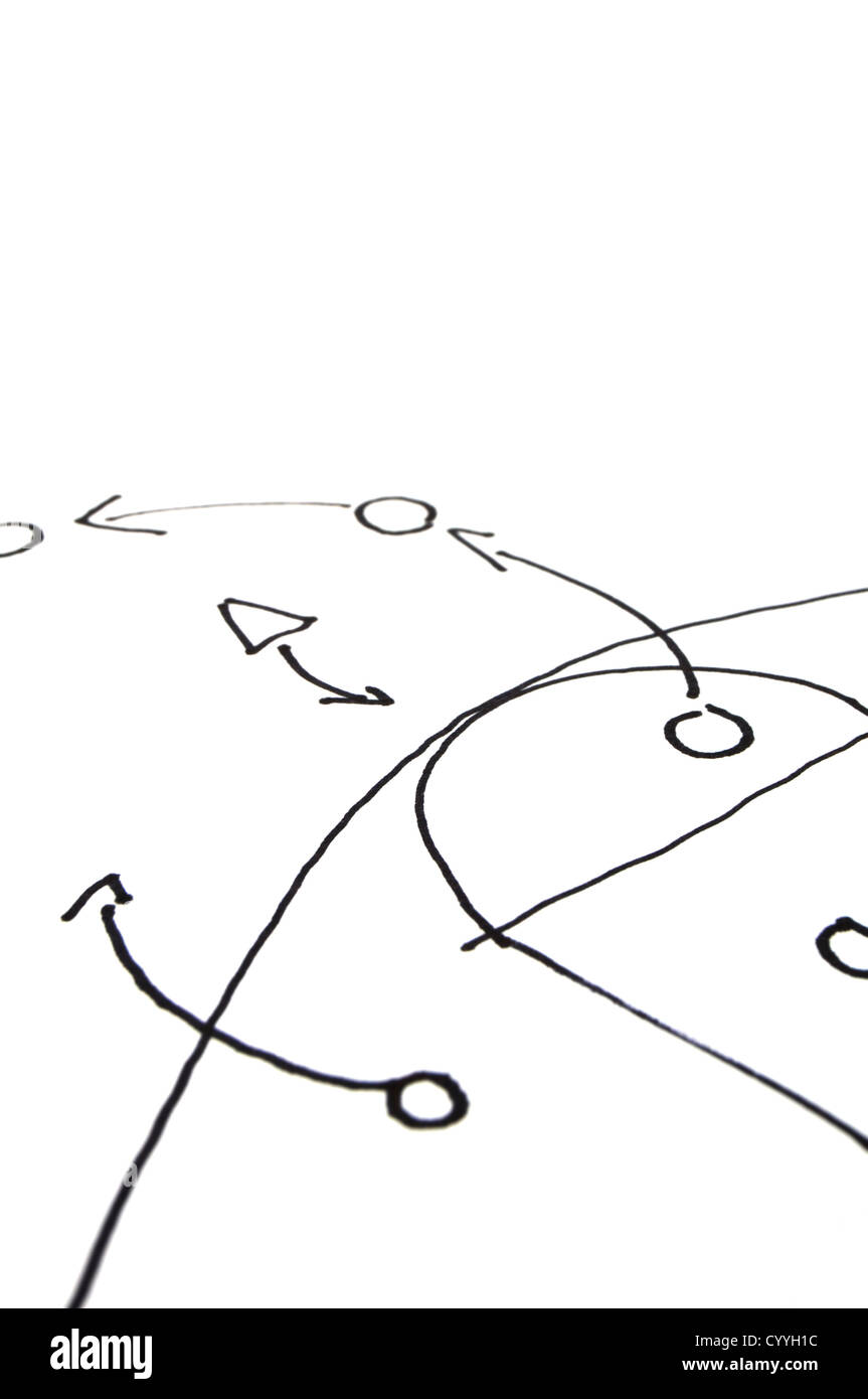 strategy or tactic plan of a ball game on white - Stock Image