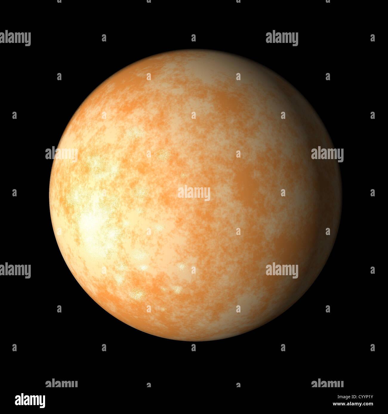illustration of Jupiter moon europa on isolated background - Stock Image