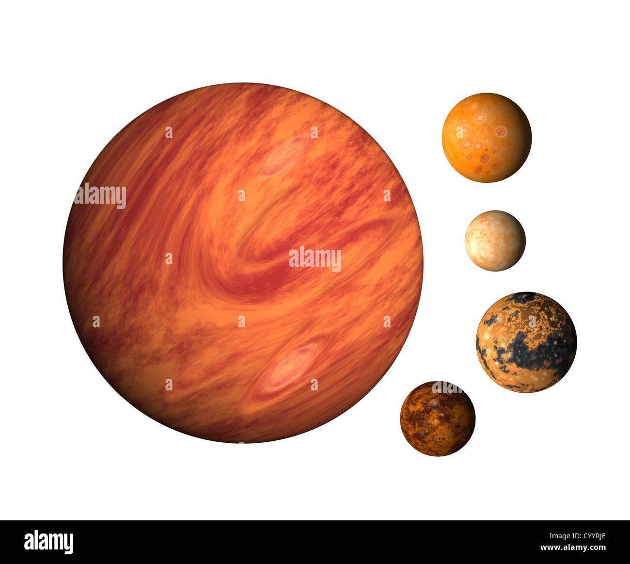illustration of planet Jupiter with moons europa, callisto,ganymede,io on isolated background - Stock Image