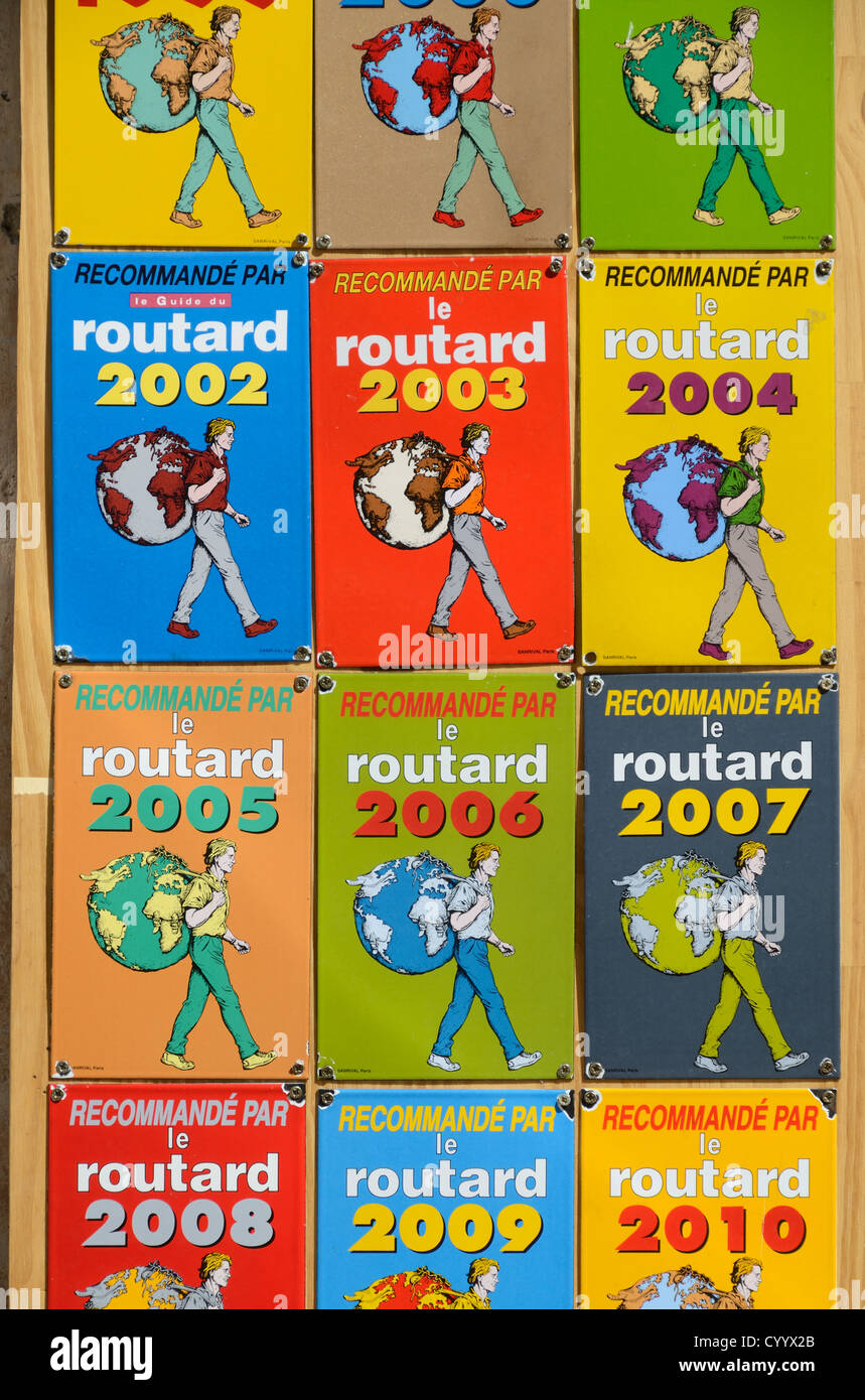 Recommended Adverts for Guide de Routard Travel Guide Books & Signs Briançon Hautes-Alpes France Stock Photo