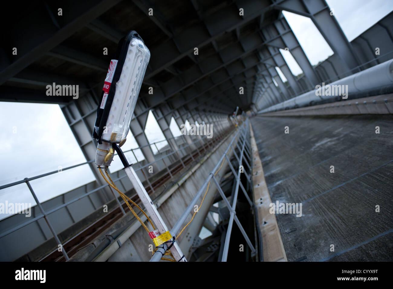 A service road site lighting, trackside in the Britannia railway bridge, Wales Stock Photo