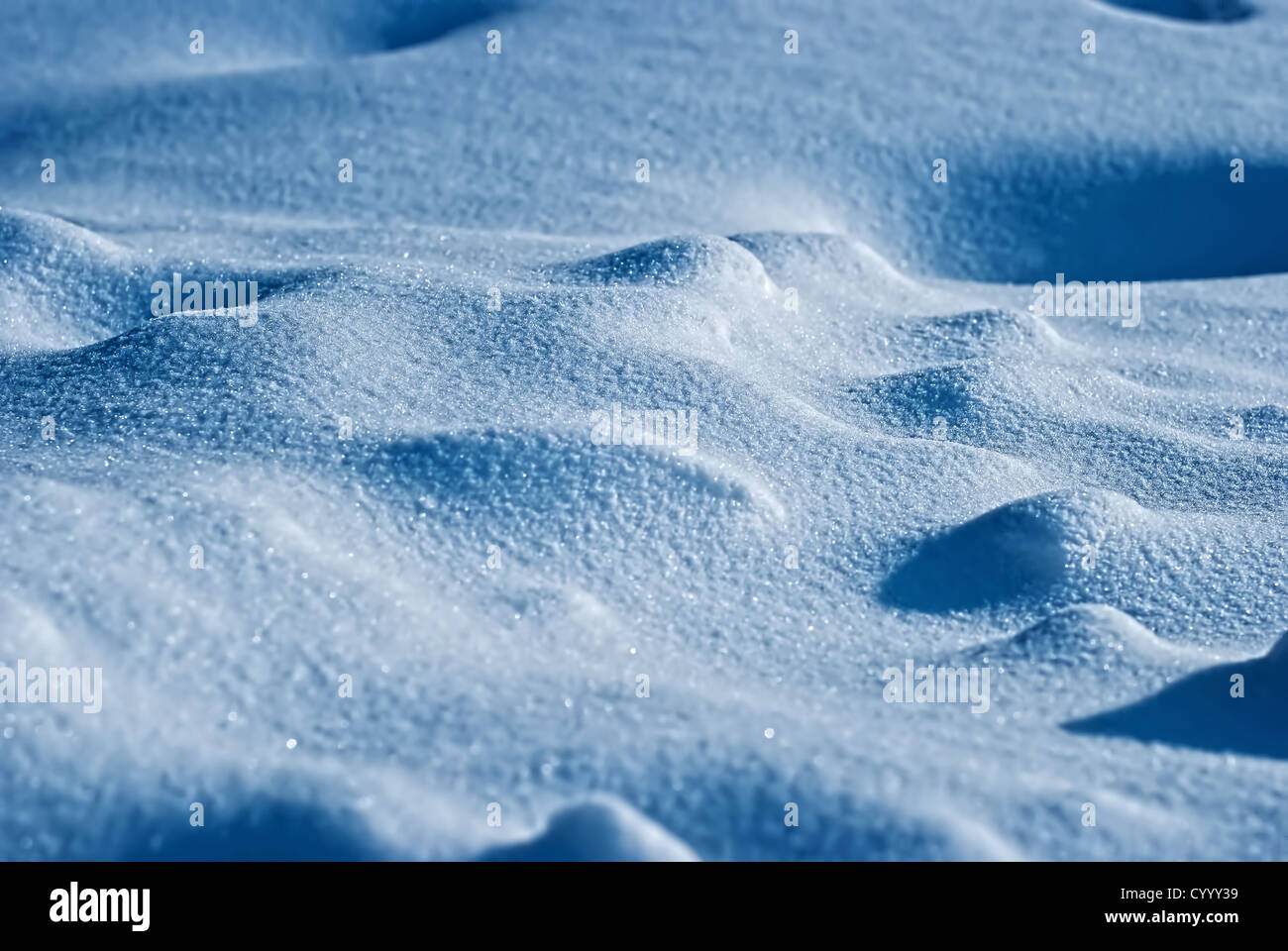 Sparkling surface of a snowdrift - Stock Image
