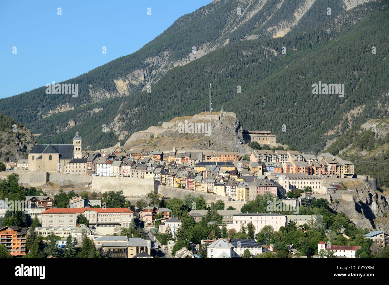 View over Town Vauban Fortifications and Citadel of Briançon Hautes-Alpes France - Stock Image