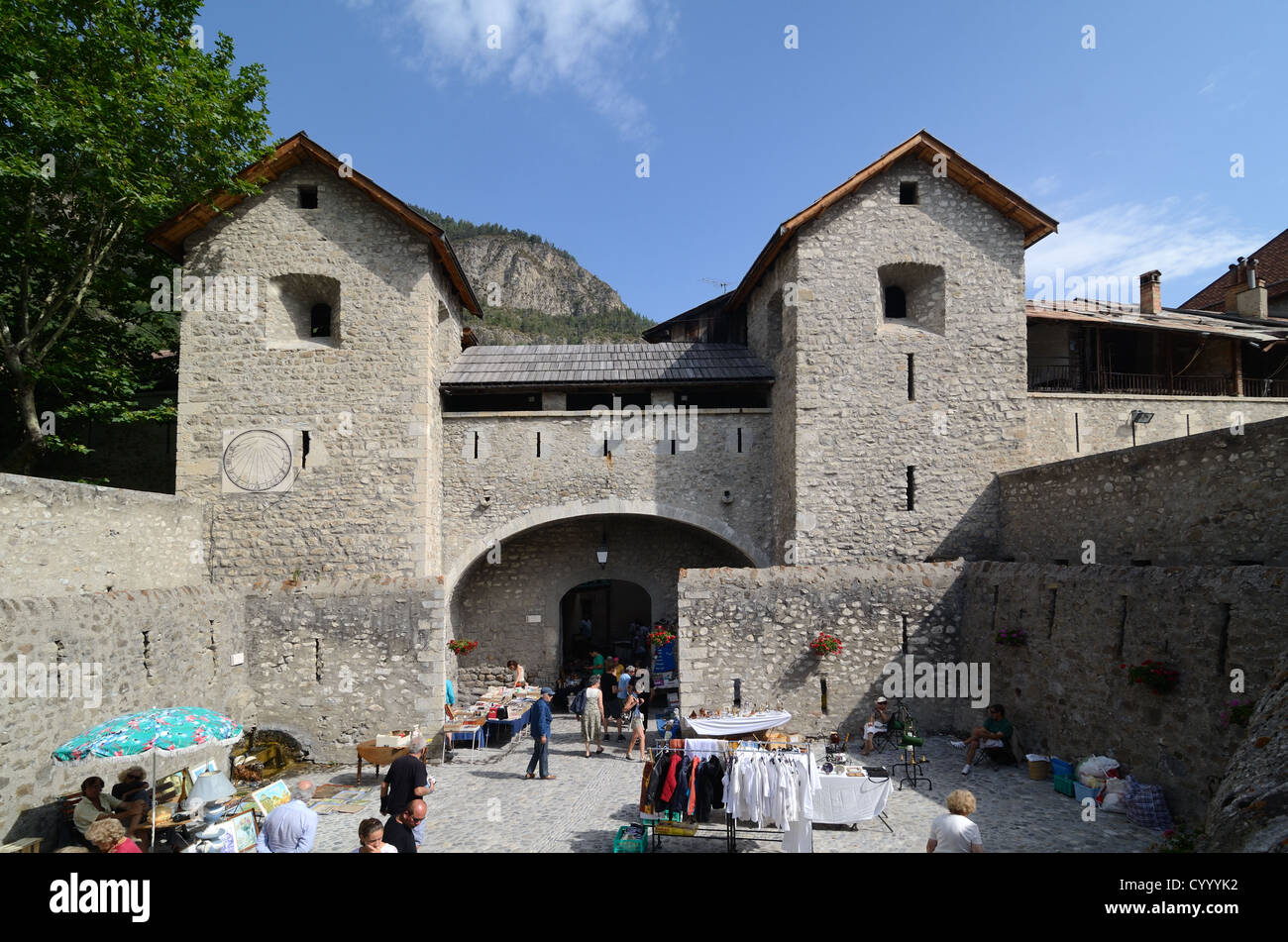 Porte de France or Town Gate of Fortified Town by Vauban of Colmars-les-Alpes Alpes-de-Haute-Provence France - Stock Image