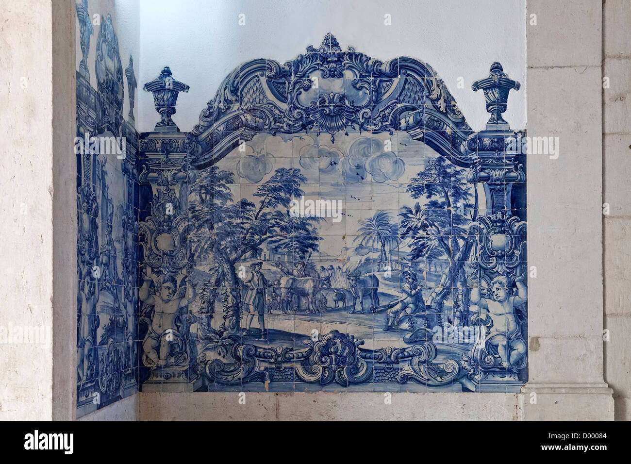 18th Century Portuguese Blue Tiles (Azulejos) decorating the cloister of the Sao Vicente de Fora Monastery. Lisbon, - Stock Image