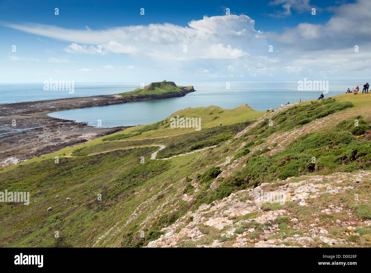 Worm's Head; Rhossili; Gower; Wales; UK - Stock Image