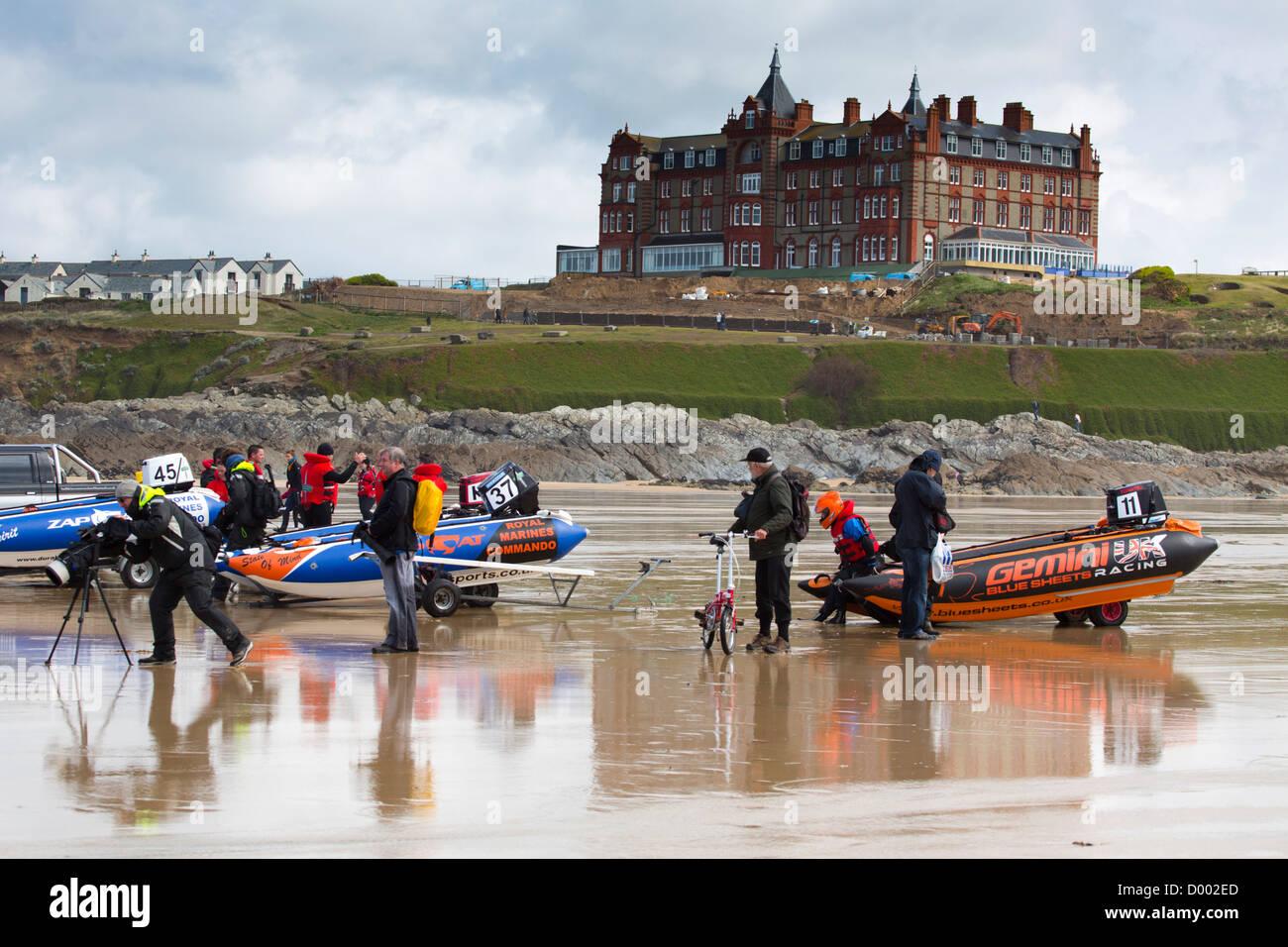 Zapcat; Power Boats; Newquay; Cornwall; UK - Stock Image