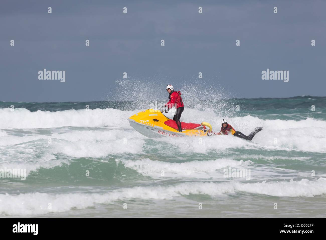 Lifeguards; Newquay; Cornwall; UK - Stock Image