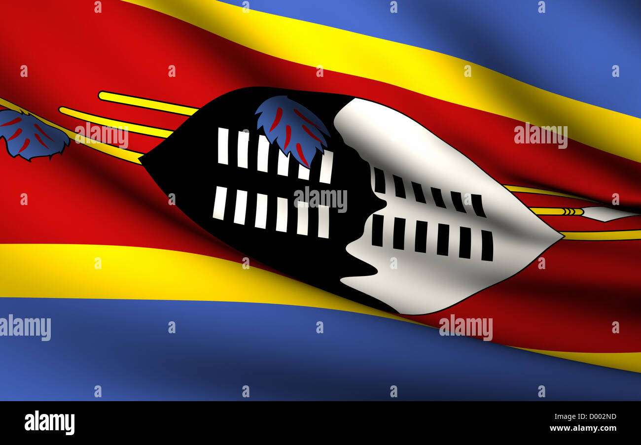 Flying Flag of Swaziland . All Countries Collection . Stock Photo