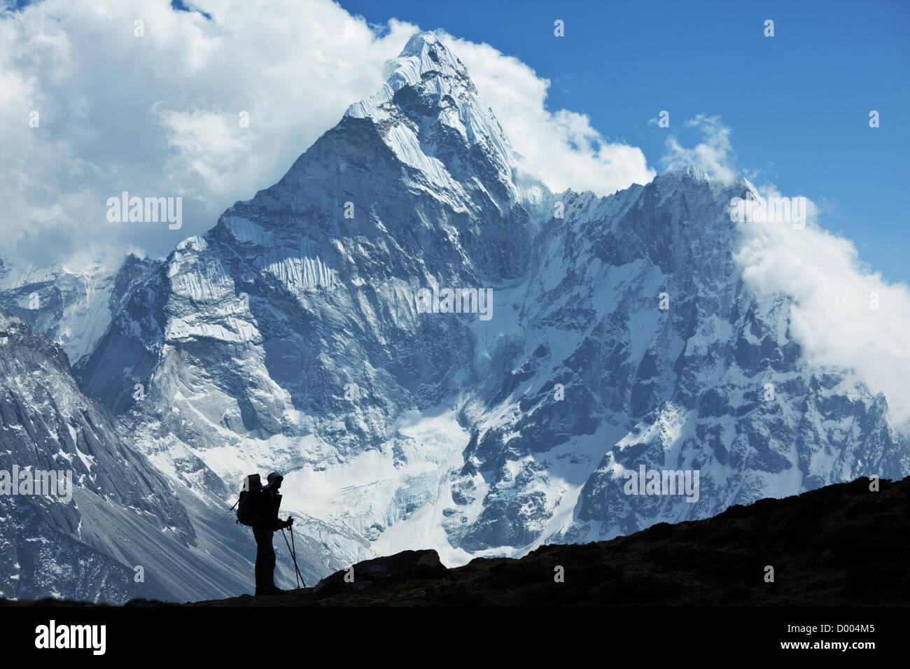 Climber in Himalayan mountain - Stock Image