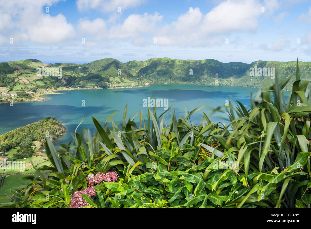 View over Sete Cidades lake on Sao Miguel island in The Azores. Stock Photo