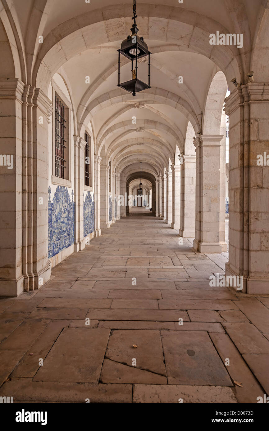 Cloister decorated with blue tiles (azulejos). Sao Vicente de Fora Monastery. Mannerist architecture. Lisbon, Portugal. - Stock Image