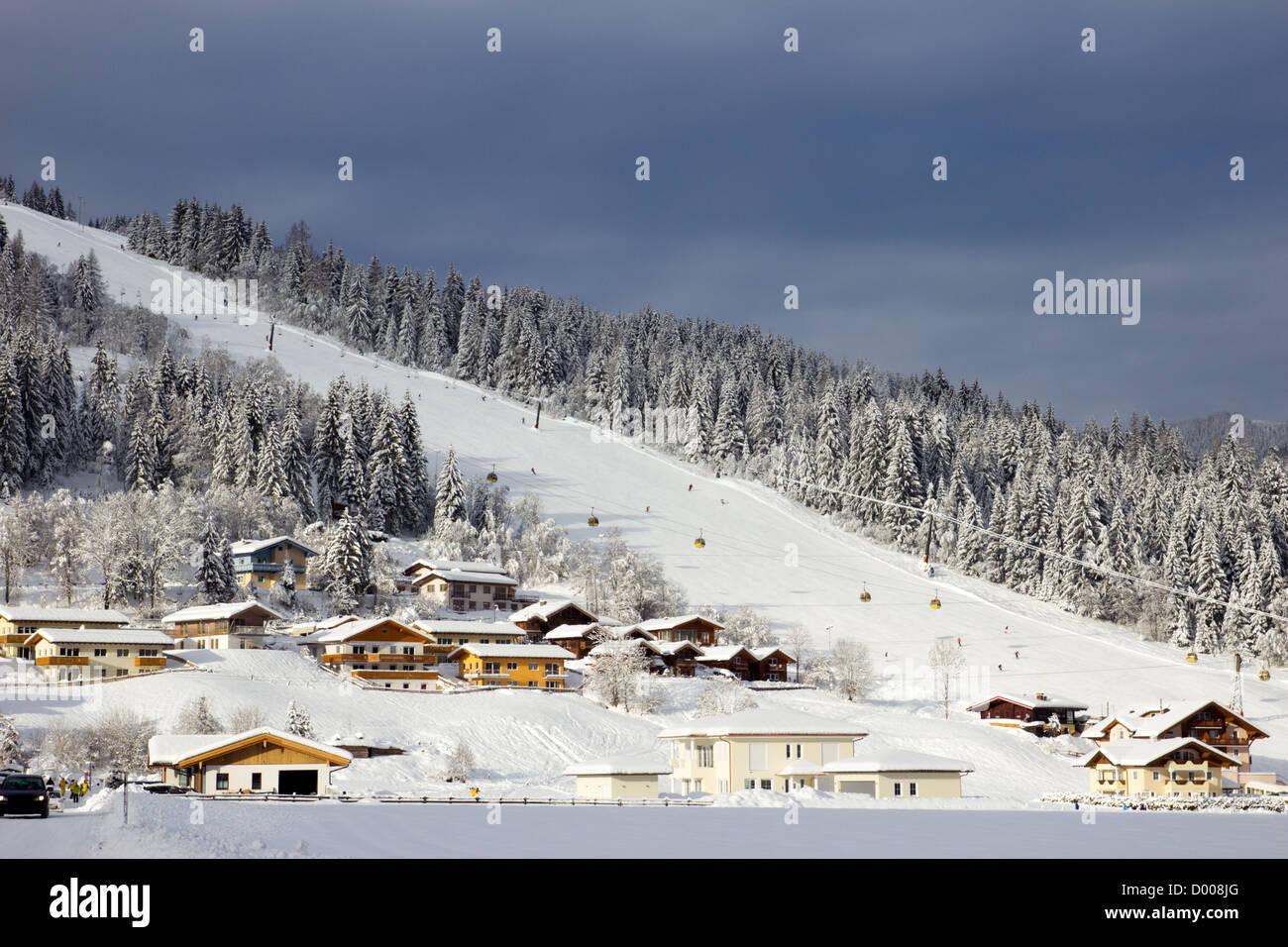 Ski piste in Flachau, Austria - Stock Image
