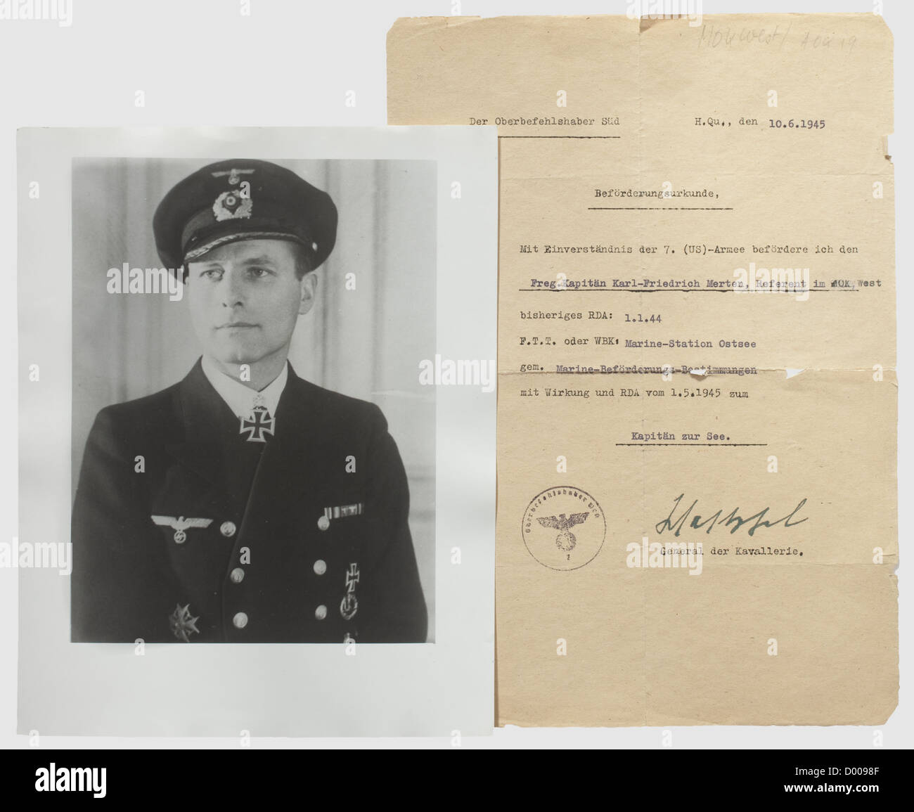 Karl-Friedrich Merten - A promotion document to Kapitän zur See (Captain) dated 10 June 1945(!), Hectographic document Stock Photo